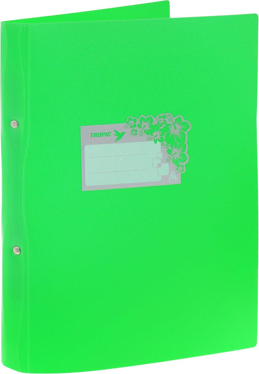 Бюрократ Папка-скоросшиватель Tropic формат А4 цвет зеленый816882_зеленыйПапка со скоросшивателем Бюрократ Crystal - это удобный и функциональный офисный инструмент, предназначенный для хранения и транспортировки рабочих бумаг и документов формата А4. Папка идеально подходит для подшивки бумаг в архивные папки с помощью металлического скоросшивателя. На лицевой стороне папки имеется место для ФИО владельца, оформленное рисунком с тропическими цветами. Углы папки закруглены. Папка - это незаменимый атрибут для любого студента, школьника или офисного работника. Такая папка надежно сохранит ваши бумаги и сбережет их от повреждений, пыли и влаги.