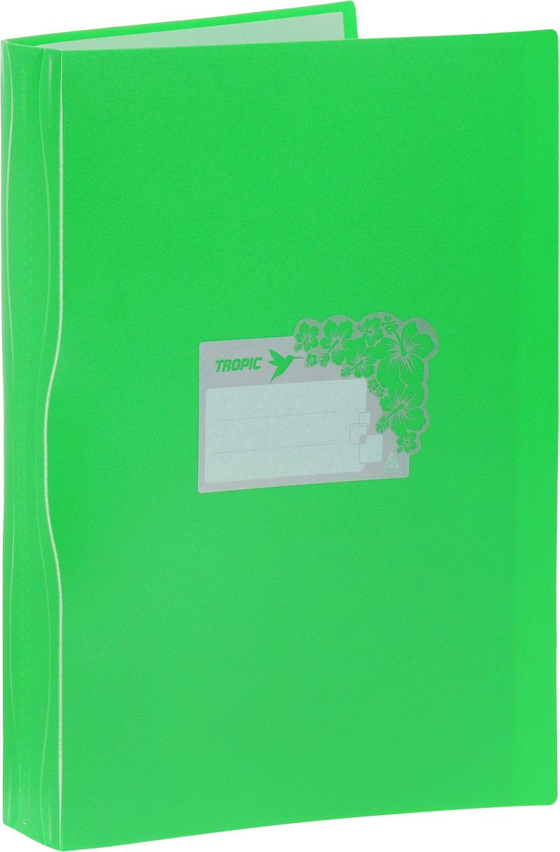 Бюрократ Папка Tropic с файлами 10 листов формат А4 цвет зеленый817056_зеленыйПапка Tropic - это удобный и функциональный офисный инструмент, предназначенный для хранения и транспортировки большого объема рабочих бумаг и документов формата А4. Папка идеально подходит для подшивки бумаг в архивные папки без перфорирования дыроколом, а также для хранения различных документов. На лицевой стороне папки имеется место для ФИО владельца, оформленное рисунком с тропическими цветами. Папка изготовлена из прочного высококачественного пластика и содержит 10 прозрачных вкладышей. С такой папкой все ваши документы будут в полной сохранности.