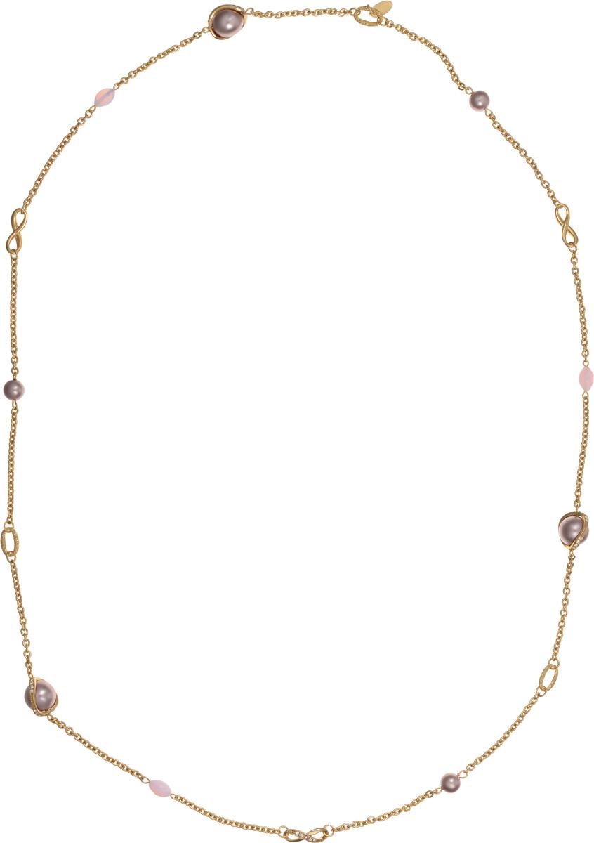 Колье Medea. 1004384110043841Оригинальное колье Medea выполнено из металла с гальваническим покрытием золотом. Вставки состоят из лунного камня, искусственного жемчуга и стразов Swarovski. Изящное колье придаст вашему образу изюминку, подчеркнет красоту и изящество вечернего платья или преобразит повседневный наряд. Такое колье позволит вам с легкостью воплотить самую смелую фантазию и создать собственный, неповторимый образ.