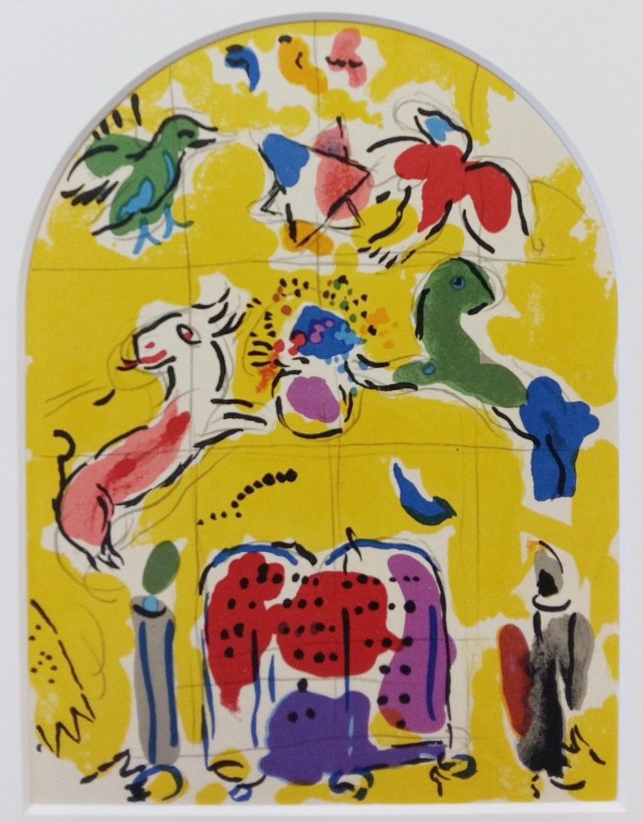 Литография Леви. Двенадцать колен Израилевых. Марк Шагал. Лимитированное издание. Монте-Карло, Andre Sauret, 1962 годПБ АРТ 1908.2016-3Великолепная графическая работа Марка Шагала (1887-1985) Леви представляет собой уникальное по точности и красоте воспроизведение оригинальных рисунков тушью художника, относящихся к его иерусалимскому циклу. Превосходная альтернатива музейным раритетам! Композиция Леви была создана в качестве эскиза к одному из 12 витражей иерусалимской серии 1962 года Двенадцать колен Израилевых (Vitraux pour Jerusalem). Цветная литография, 1962 год. Автор - Марк Шагал (1887-1985). Литограф Шарль Сорье (Charles Sorlier). Издано: Andre Sauret - Monte Carlo / Fernand Mourlot, Paris. Сохранность коллекционная. Лист № 3 из серии Двенадцать колен Израилевых . Литография заключена в музейное паспарту. Размер паспарту 24 х 30 см. Размер окна 15 х 20 см. Вашему вниманию представлена коллекционная копия одного из рисунков Марка Шагала из серии 12 колен Израилевых(1960-1961), ставшей основой для росписи витражей в Синагоге...