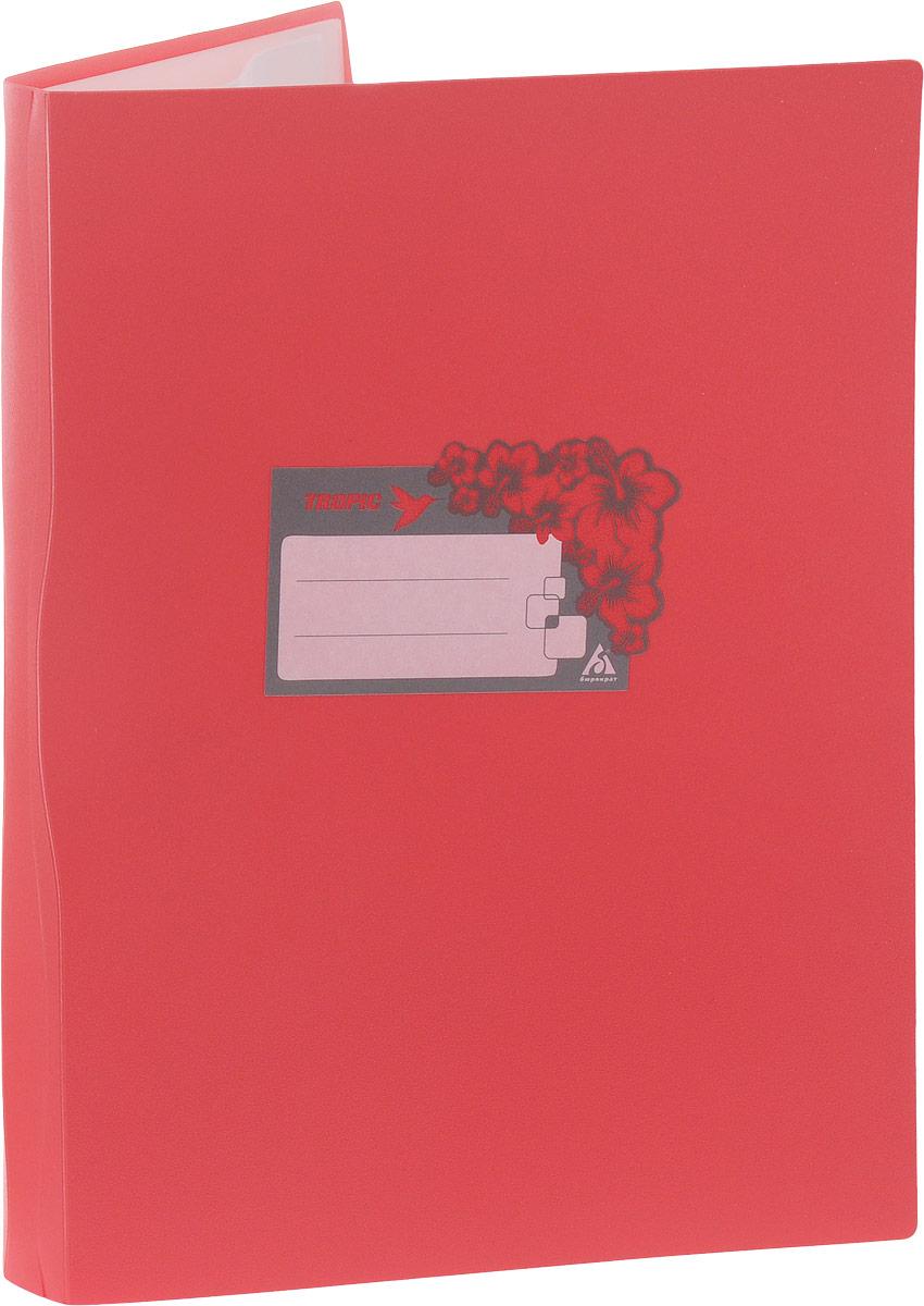 Бюрократ Папка Tropic с файлами 20 листов формат А4 цвет розовый817063/817067Папка Tropic - это удобный и функциональный офисный инструмент, предназначенный для хранения и транспортировки большого объема рабочих бумаг и документов формата А4. Папка идеально подходит для подшивки бумаг в архивные папки без перфорирования дыроколом, а также для хранения различных документов. На лицевой стороне папки имеется место для ФИО владельца, оформленное рисунком с тропическими цветами. Папка изготовлена из прочного высококачественного пластика и содержит 20 прозрачных вкладышей. С такой папкой все ваши документы будут в полной сохранности.