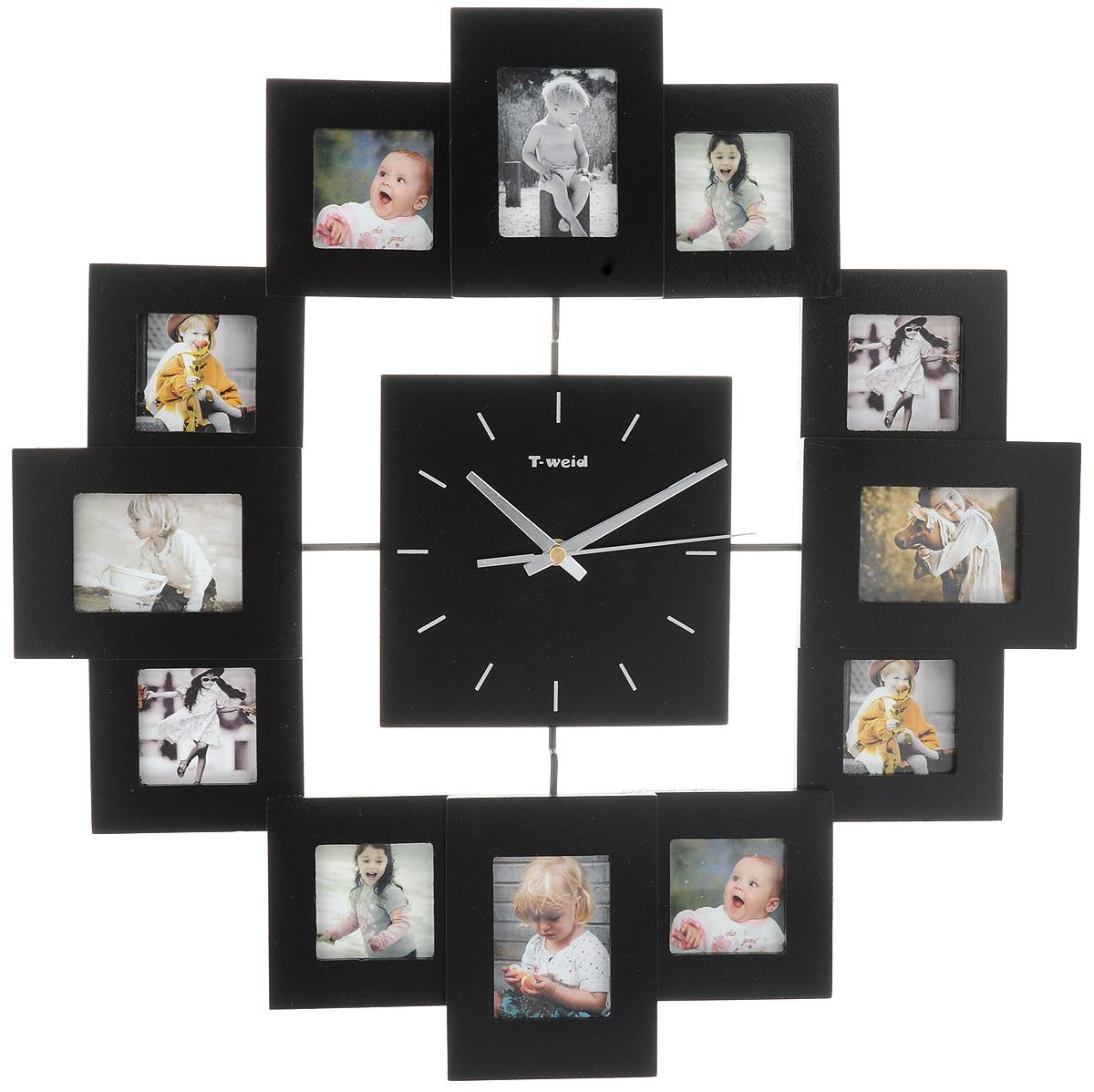 Часы настенные HomeMaster, с 12 фоторамками, цвет: черныйМ9013АBlackНастенные часы HomeMaster кварцевые с фоторамками - это прекрасный предмет декора, а также универсальный подарок практически по любому поводу. Корпус часов, выполнен из дерева с черным матовым покрытием и оформлен двенадцатью фоторамками. Циферблат часов оснащен тремя фигурными стрелками: часовой, минутной и секундной. На задней стенке часов расположена металлическая петелька для подвешивания и блок с часовым механизмом. Часы с фоторамками прекрасно впишутся в любой интерьер. В зависимости оттого, что вы поместите в рамки, будет меняться и стиль часов. Тип механизма: плавающий, бесшумный. Рекомендуется докупить батарейку типа АА (не входит в комплект). Размер изделия: 45 х 45 х 5 см. Размер фоторамок: для 4 фото - 6 х 8 см и для 8 фото - 6 х 6 см.