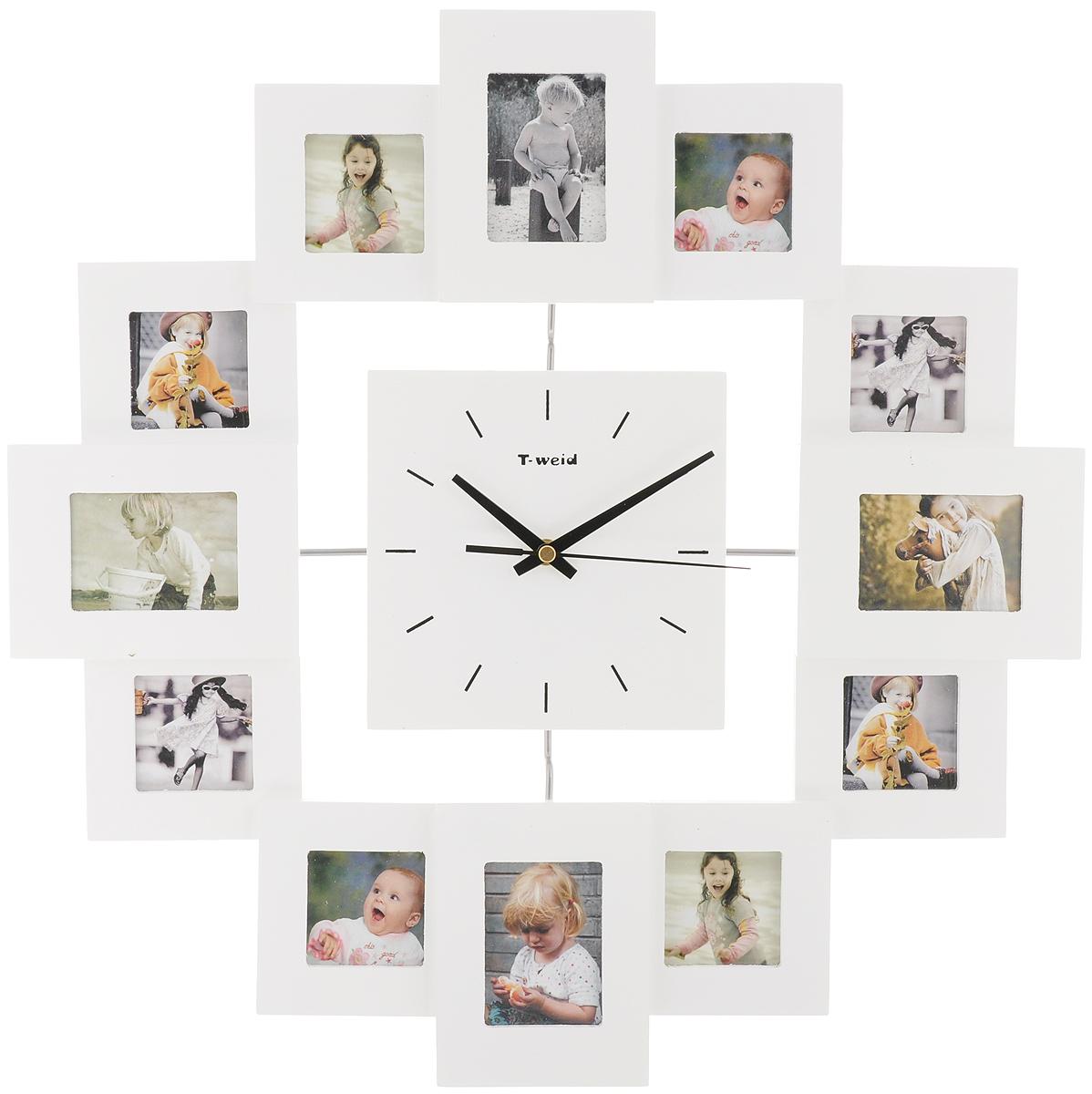 Часы настенные HomeMaster, с 12 фоторамками, цвет: белыйМ9013ВWhiteНастенные часы HomeMaster кварцевые с фоторамками - это прекрасный предмет декора, а также универсальный подарок практически по любому поводу. Корпус часов, выполнен из дерева с белым матовым покрытием и оформлен двенадцатью фоторамками. Циферблат часов оснащен тремя фигурными стрелками: часовой, минутной и секундной. На задней стенке часов расположена металлическая петелька для подвешивания и блок с часовым механизмом. Часы с фоторамками прекрасно впишутся в любой интерьер. В зависимости оттого, что вы поместите в рамки, будет меняться и стиль часов. Тип механизма: плавающий, бесшумный. Рекомендуется докупить батарейку типа АА (не входит в комплект). Размер изделия: 45 х 45 х 5 см. Размер фоторамок: для 4 фото - 6 х 8 см и для 8 фото - 6 х 6 см.