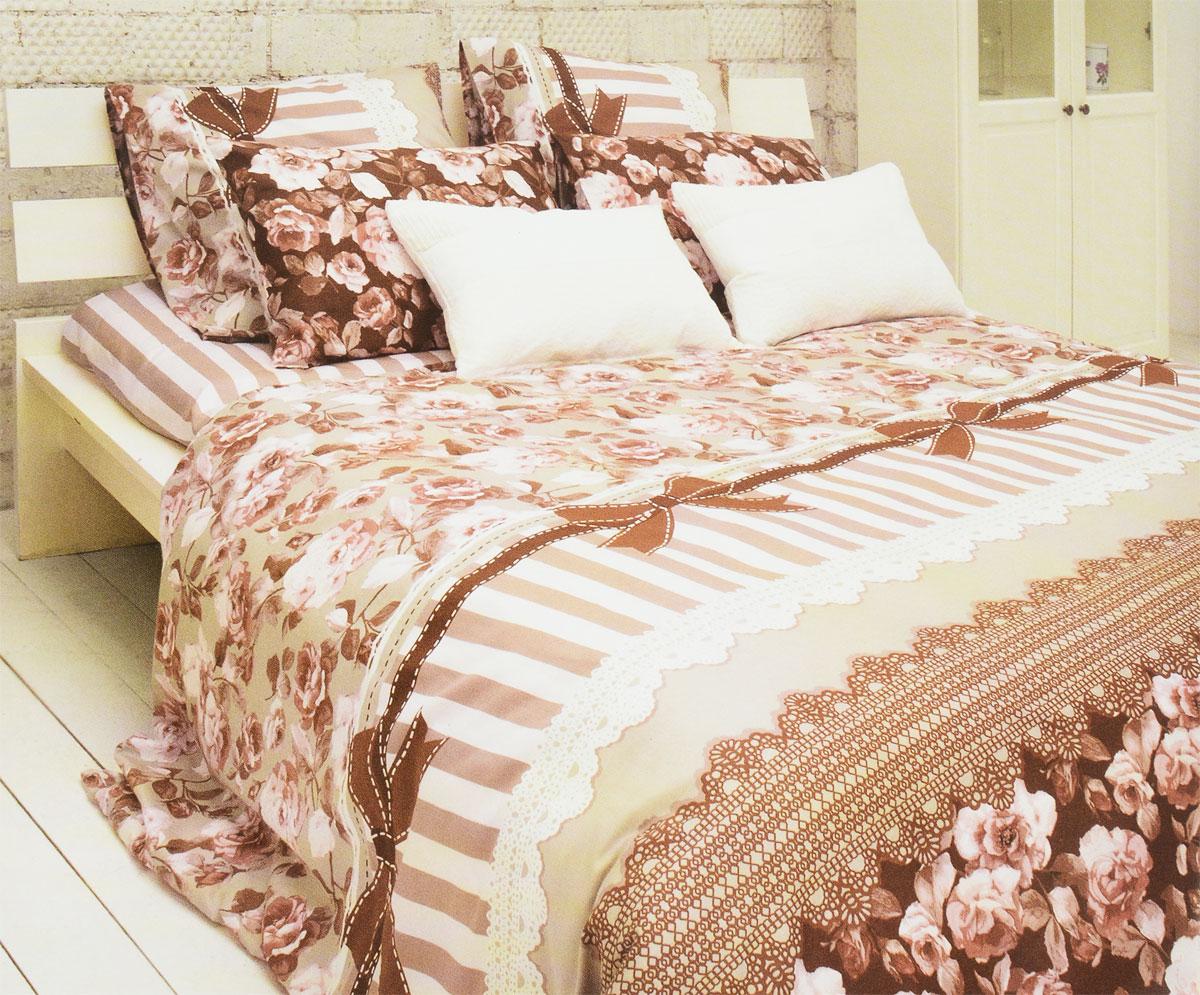 Комплект белья Tiffanys Secret Шоколадный этюд, 2-спальный, наволочки 70х70, цвет: розовый, коричневый2040815175Комплект постельного белья Tiffanys Secret Шоколадный этюд является экологически безопасным для всей семьи, так как выполнен из сатина (100% хлопок). Комплект состоит из пододеяльника, простыни и двух наволочек. Предметы комплекта оформлены оригинальным рисунком. Благодаря такому комплекту постельного белья вы сможете создать атмосферу уюта и комфорта в вашей спальне. Сатин - это ткань, навсегда покорившая сердца человечества. Ценившие роскошь персы называли ее атлас, а искушенные в прекрасном французы - сатин. Секрет высококачественного сатина в безупречности всего технологического процесса. Эту благородную ткань делают только из отборной натуральной пряжи, которую получают из самого лучшего тонковолокнистого хлопка. Благодаря использованию самой тонкой хлопковой нити получается необычайно мягкое и нежное полотно. Сатиновое постельное белье превращает жаркие летние ночи в прохладные и освежающие, а холодные зимние - в теплые и ...