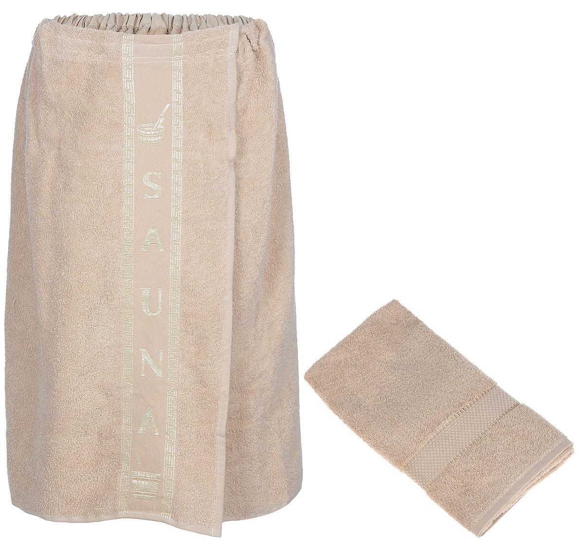 Набор для бани и сауны Arya, мужской, цвет: светло-коричневый, 2 предметаF0003860Светло-коричневыйНабор для бани и сауны Arya, выполненный из 100% хлопка, состоит из килта и полотенца. Банный килт- это многофункциональное полотенце специального покроя с резинкой и липучкой, благодаря которым вы сами регулируете размер. В парилке можно использовать как коврик, после душа вытираться. Полотенце - незаменимая вещь, которая обладает невероятной мягкостью и удивительной впитываемостью. Благодаря качественному хлопковому сырью и удобному фасону предметов набора Arya вы будете получать настоящий комфорт. Размер килта: 75 х 150 см. Размер полотенца: 50 х 90 см.
