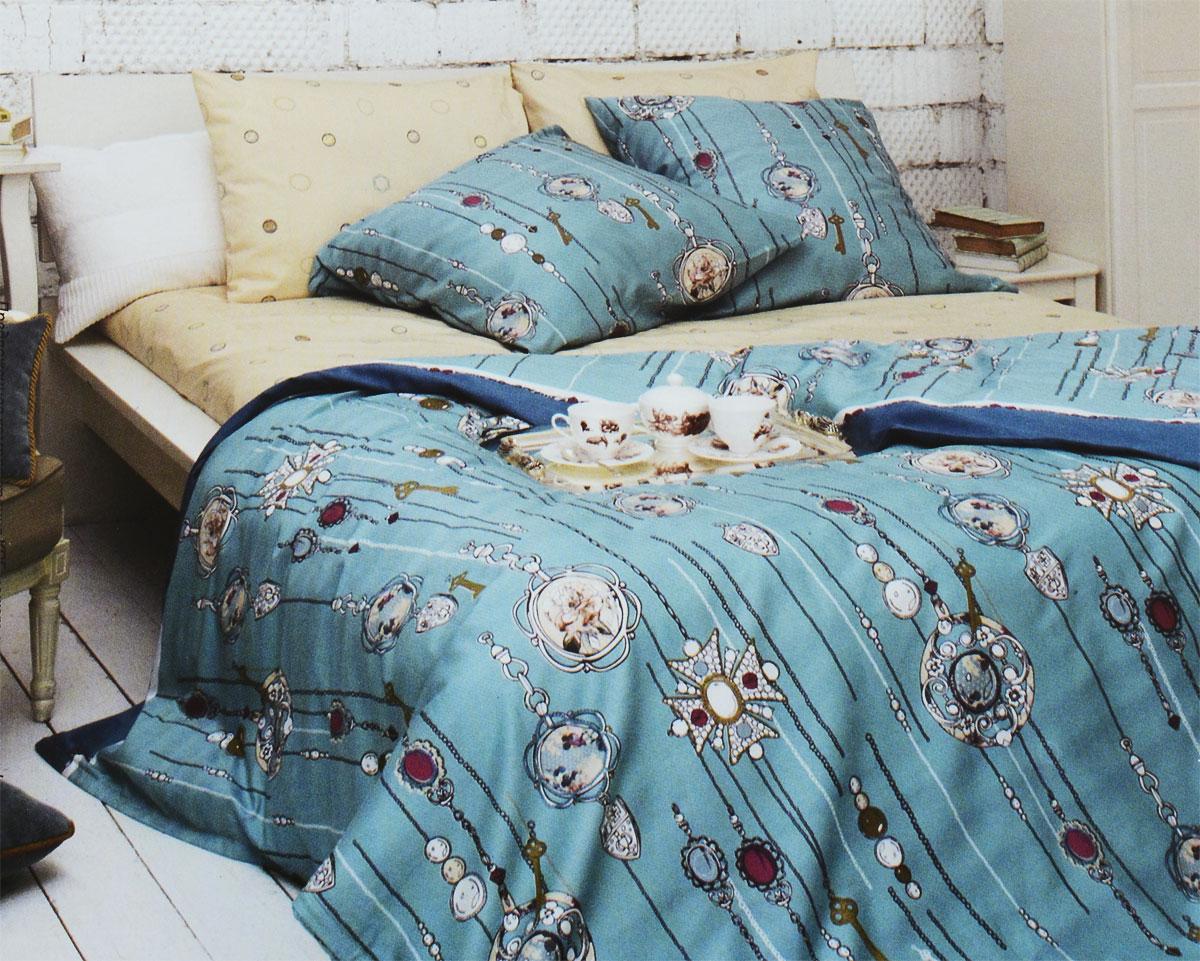 Комплект белья Tiffanys Secret Секрет Тиффани, 2-спальный, наволочки 70х70, цвет: бирюзовый, бежевый2040815177Комплект постельного белья Tiffanys Secret Секрет Тиффани является экологически безопасным для всей семьи, так как выполнен из сатина (100% хлопок). Комплект состоит из пододеяльника, простыни и двух наволочек. Предметы комплекта оформлены оригинальным рисунком. Благодаря такому комплекту постельного белья вы сможете создать атмосферу уюта и комфорта в вашей спальне. Сатин - это ткань, навсегда покорившая сердца человечества. Ценившие роскошь персы называли ее атлас, а искушенные в прекрасном французы - сатин. Секрет высококачественного сатина в безупречности всего технологического процесса. Эту благородную ткань делают только из отборной натуральной пряжи, которую получают из самого лучшего тонковолокнистого хлопка. Благодаря использованию самой тонкой хлопковой нити получается необычайно мягкое и нежное полотно. Сатиновое постельное белье превращает жаркие летние ночи в прохладные и освежающие, а холодные зимние - в теплые и ...