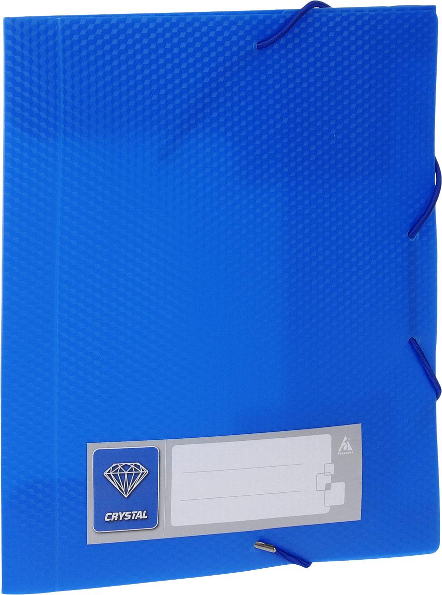Бюрократ Папка-короб на резинке Crystal формат А5 цвет синий