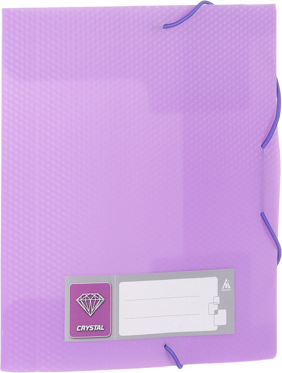 Бюрократ Папка-короб на резинке Crystal формат А5 цвет сиреневый