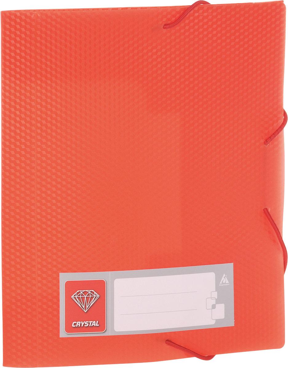 Бюрократ Папка-короб на резинке Crystal формат А5 цвет красный