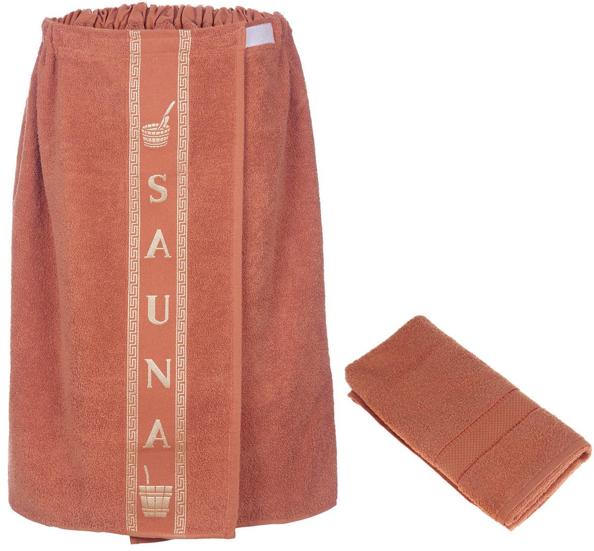 Набор для бани и сауны Arya, мужской, цвет: кирпичный, 2 предметаF0003860КирпичныйНабор для бани и сауны Arya, выполненный из 100% хлопка, состоит из килта и полотенца. Банный килт- это многофункциональное полотенце специального покроя с резинкой и липучкой, благодаря которым вы сами регулируете размер. В парилке можно использовать как коврик, после душа вытираться. Полотенце - незаменимая вещь, которая обладает невероятной мягкостью и удивительной впитываемостью. Благодаря качественному хлопковому сырью и удобному фасону предметов набора Arya вы будете получать настоящий комфорт. Размер килта: 75 х 150 см. Размер полотенца: 50 х 90 см.