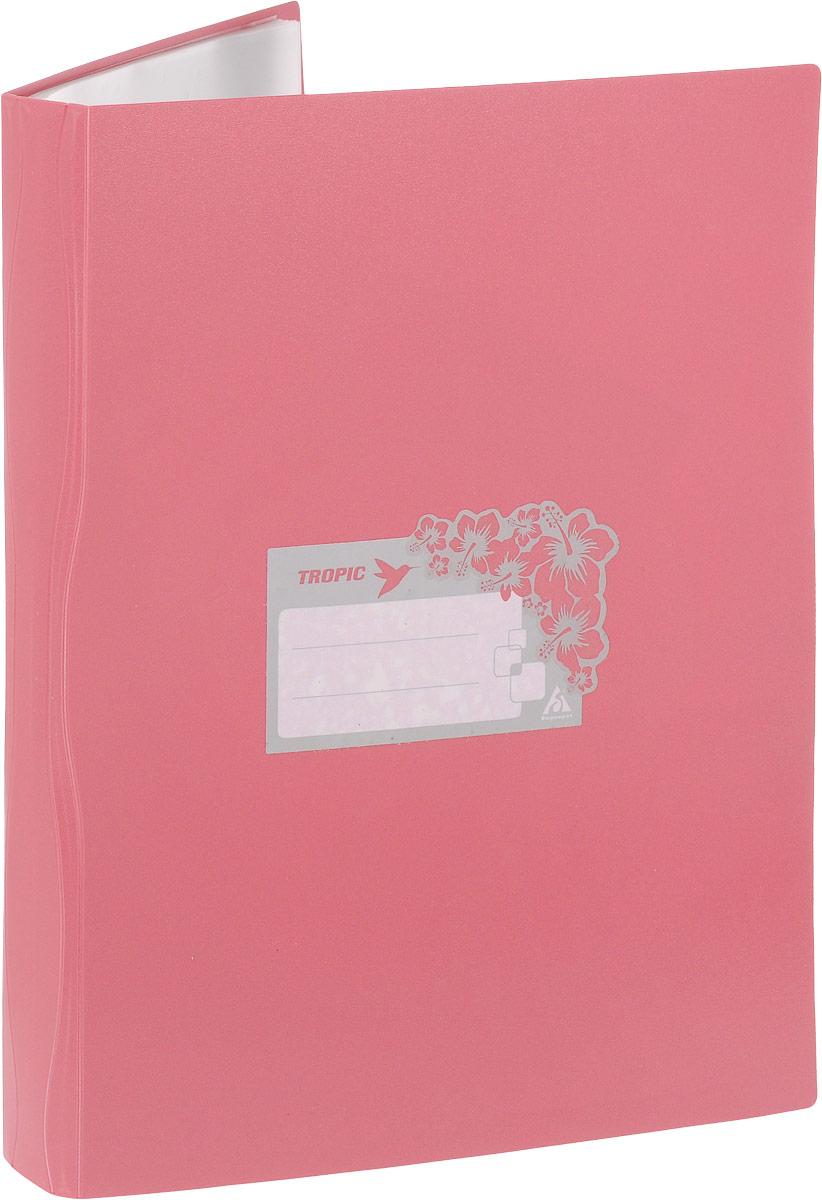 Бюрократ Папка Tropic с файлами 40 листов формат А4 цвет темно-розовый