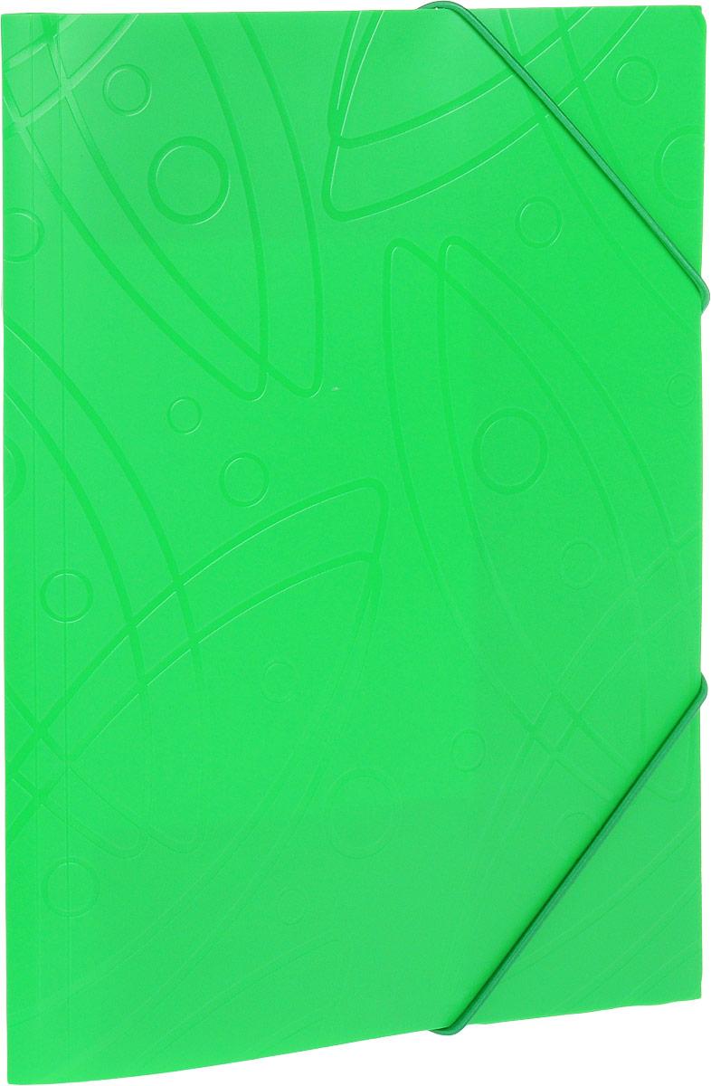 Бюрократ Папка на резинке Galaxy формат А4 цвет зеленый816765_зеленыйПапка на резинке Galaxy - это удобный и функциональный офисный инструмент, предназначенный для хранения и транспортировки большого объема рабочих бумаг и документов формата А4. Папка изготовлена из жесткого, но гибкого фактурного пластика и закрывается при помощи угловых резинок. Резинки не позволят папке раскрыться в неподходящий момент. Папка надежно сохранит ваши документы и сбережет их от повреждений, пыли и влаги.