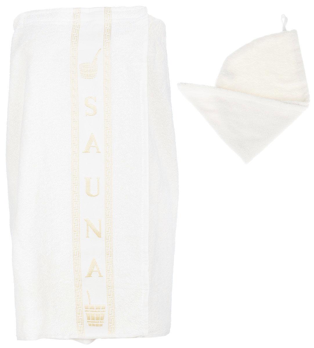 Набор для бани и сауны Arya, женский, цвет: кремовый, 2 предметаF0003858_кремовыйЖенский набор для бани и сауны Arya, выполненный из 100% хлопка, состоит из парео и чалмы для головы. Банное парео - это многофункциональное полотенце специального покроя с резинкой и липучкой, благодаря которым вы сами регулируете размер. Чалма - незаменимая вещь, которая позволит защитить голову и волосы от жара парной. Ее можно использовать в качестве полотенца. Изделия необычайно мягкие, с плотной невысокой махрой, обладают удивительной впитываемостью влаги - до 80%. После многократной стирки, изделия не теряют своей яркости и мягкости, благодаря специальной технологии окраски и качественной махровой ткани. Размер парео: 75 х 150 см. Размер чалмы: 55 х 24 см.