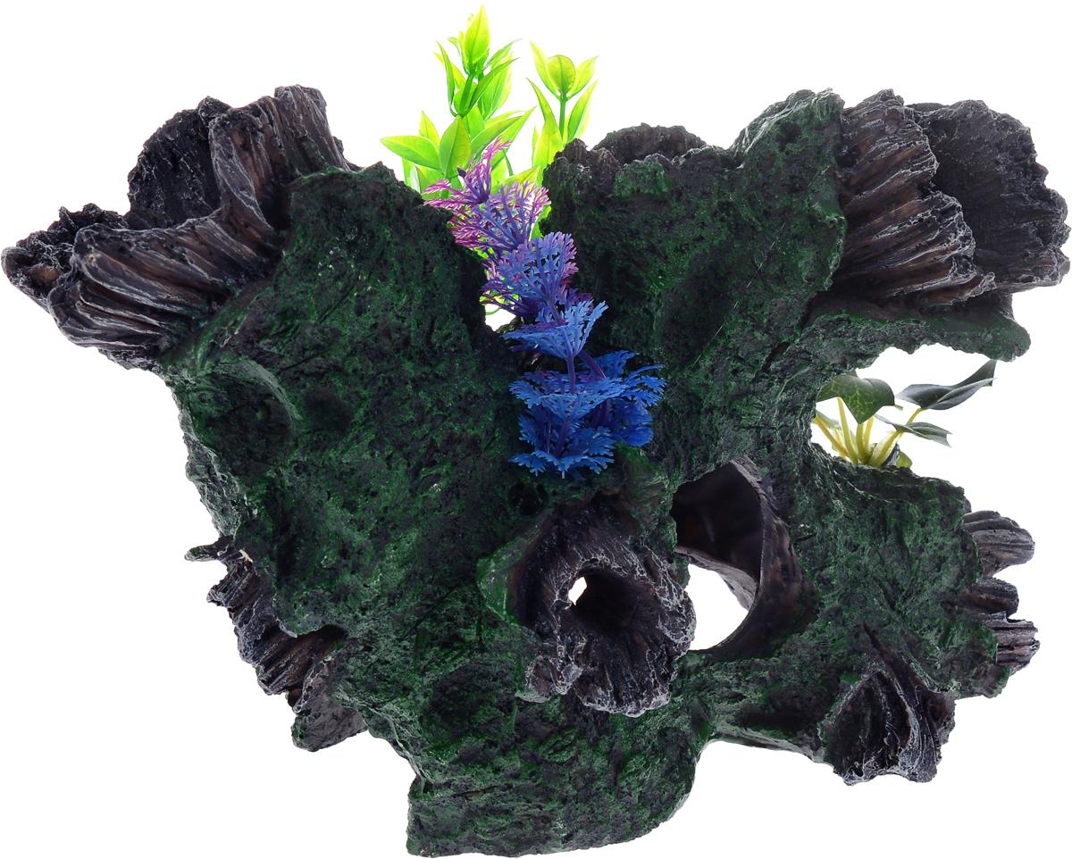 Декорация для аквариума Barbus Коряга с растением, цвет: серый, зеленый, 30,5 х 20 х 20,5 смDecor 036Декорация для аквариума Barbus Коряга с растением, выполненная из высококачественного нетоксичного полирезина, станет прекрасным украшением вашего аквариума. Изделие отличается реалистичным исполнением с множеством мелких деталей и отверстий. Ведь многие обитатели аквариума используют декорации как укрытия, в которых они живут и размножаются. Декорация абсолютно безопасна, нейтральна к водному балансу, устойчива к истиранию краски, подходит как для пресноводного, так и для морского аквариума. Благодаря декорациям Barbus вы сможете смоделировать потрясающий пейзаж на дне вашего аквариума или террариума.
