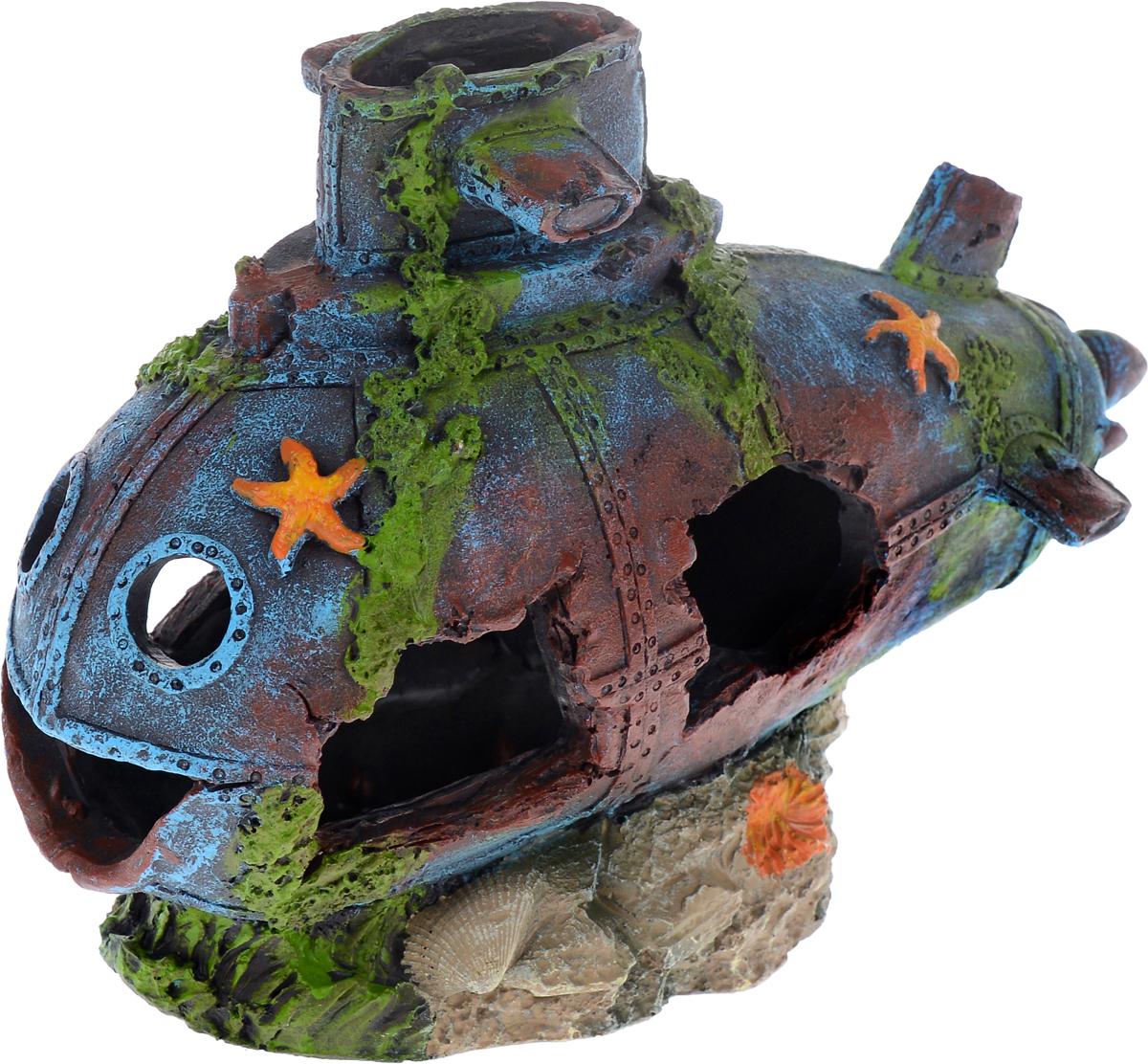 Декорация для аквариума Barbus Подводная лодка, 24,5 х 10,5 х 17 смDecor 137Декорация для аквариума Barbus Подводная лодка, выполненная из высококачественного нетоксичного полирезина, станет прекрасным украшением вашего аквариума. Изделие отличается реалистичным исполнением с множеством мелких деталей и отверстий. Ведь многие обитатели аквариума используют декорации как укрытия, в которых они живут и размножаются. Декорация абсолютно безопасна, нейтральна к водному балансу, устойчива к истиранию краски, подходит как для пресноводного, так и для морского аквариума. Благодаря декорациям Barbus вы сможете смоделировать потрясающий пейзаж на дне вашего аквариума или террариума.