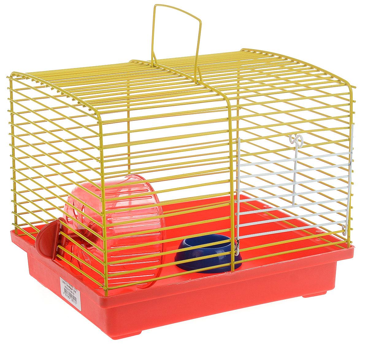 Клетка для джунгариков ЗооМарк, с колесом и миской, цвет: красный поддон, желтая решетка, 23 х 18 х 18,5 см511_красный, желтыйКлетка ЗооМарк, выполненная из пластика и металла, подходит для джунгарского хомячка и других мелких грызунов. Она оборудована колесом для подвижных игр и миской. Клетка имеет яркий поддон, удобна в использовании и легко чистится. Такая клетка станет уединенным личным пространством и уютным домиком для маленького грызуна.