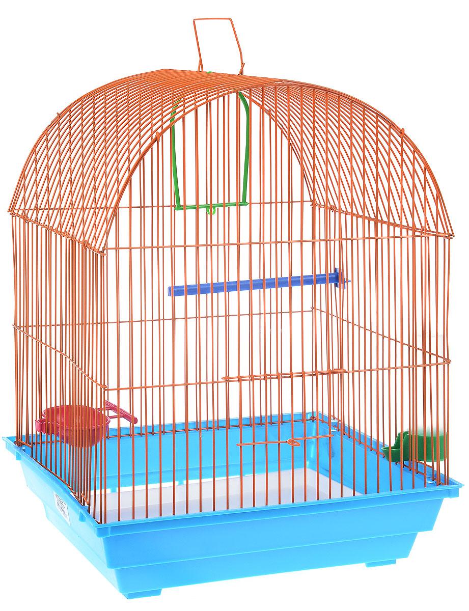 Клетка для птиц ЗооМарк, цвет: голубой поддон, оранжевая решетка, 35 х 28 х 45 см440_голубой, оранжевыйКлетка ЗооМарк, выполненная из полипропилена и металла, предназначена для мелких птиц. Вы можете поселить в нее одну или две птицы. Изделие состоит из большого поддона и решетки. Клетка снабжена металлической дверцей, которая открывается и закрывается движением вверх-вниз. В основании клетки находится малый поддон. Клетка удобна в использовании и легко чистится. Она оснащена жердочкой, кольцом для птицы, кормушкой, поилкой и подвижной ручкой для удобной переноски. Комплектация: - клетка с поддоном, - малый поддон; - кормушка; - поилка; - кольцо.