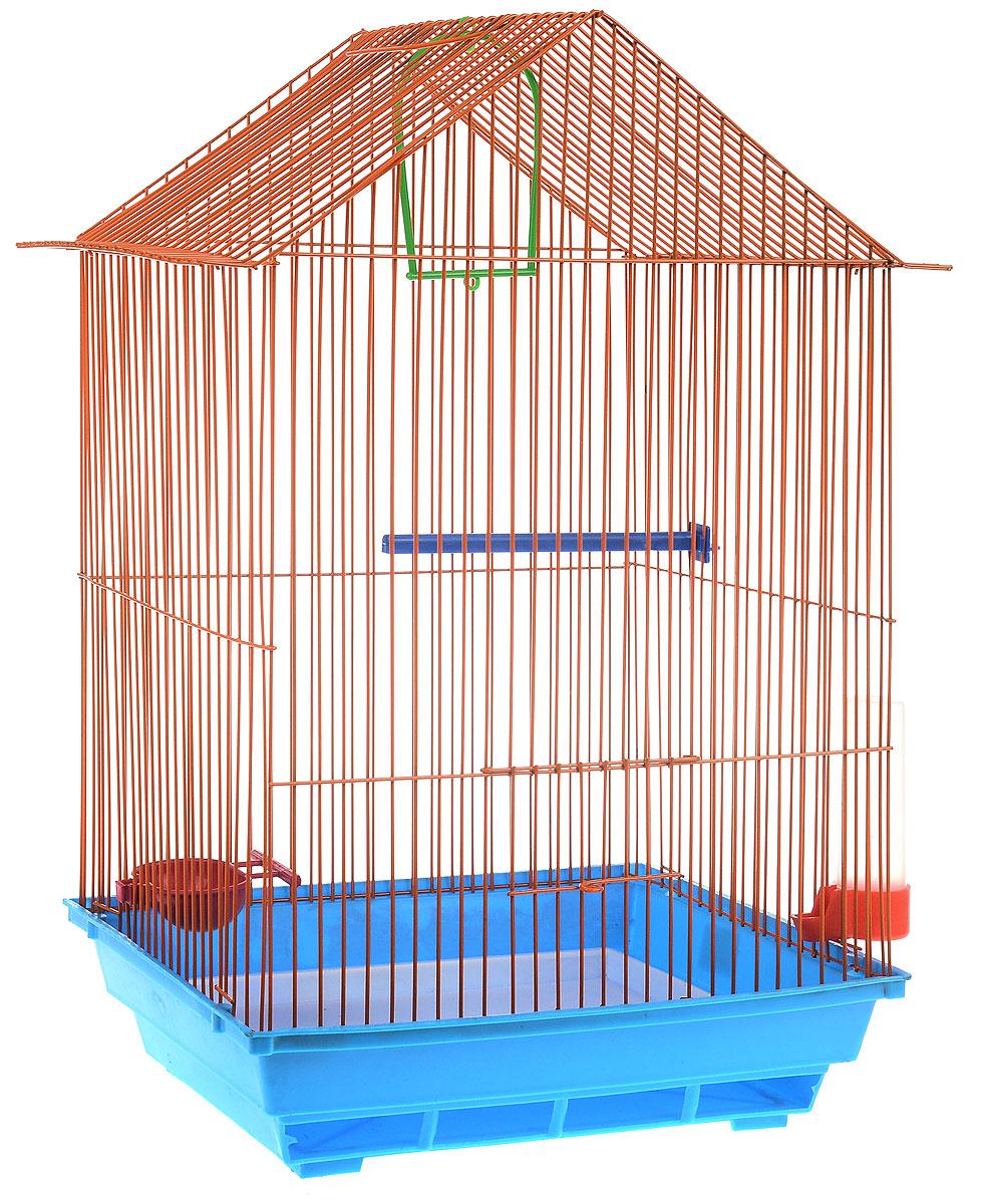 Клетка для птиц ЗооМарк, цвет: голубой поддон, оранжевая решетка, 34 x 28 х 54 см430_голубой, оранжевыйКлетка ЗооМарк, выполненная из полипропилена и металла с эмалированным покрытием, предназначена для мелких птиц. Изделие состоит из большого поддона и решетки. Клетка снабжена металлической дверцей. В основании клетки находится малый поддон. Клетка удобна в использовании и легко чистится. Она оснащена жердочкой, кольцом для птицы, поилкой, кормушкой и подвижной ручкой для удобной переноски. Комплектация: - клетка с поддоном, - малый поддон; - поилка; - кормушка; - кольцо.