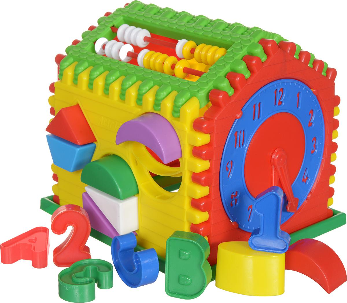 Nina Развивающая игрушка Логический дом00039Логический дом это обучающий центр для малышей со счетами, часами и рамками-вкладышами. С помощью Логического дома можно начинать заниматься с ребенком с раннего возраста и до самой школы. Стены домика представляют собой крупный конструктор-пазл из яркого пластика. Домик можно не собирать целиком, а использовать для обучения нужную вам в данное время деталь-стенку. Например, играть только с часами или счётами. На вращающихся треугольниках наклеены картинки с разными животными, растениями, бытовыми предметами и ваш ребенок знакомится с ними, просто перебирая пальчиками эти элементы. Игра развивает цветовосприятие, мелкую моторику рук, логическое мышление и пространственное воображение. Знакомит детей с геометрическими фигурами, цифрами и некоторыми буквами. Уважаемые клиенты! Обращаем ваше внимание на цветовой ассортимент деталей товара. Поставка осуществляется в зависимости от наличия на складе.