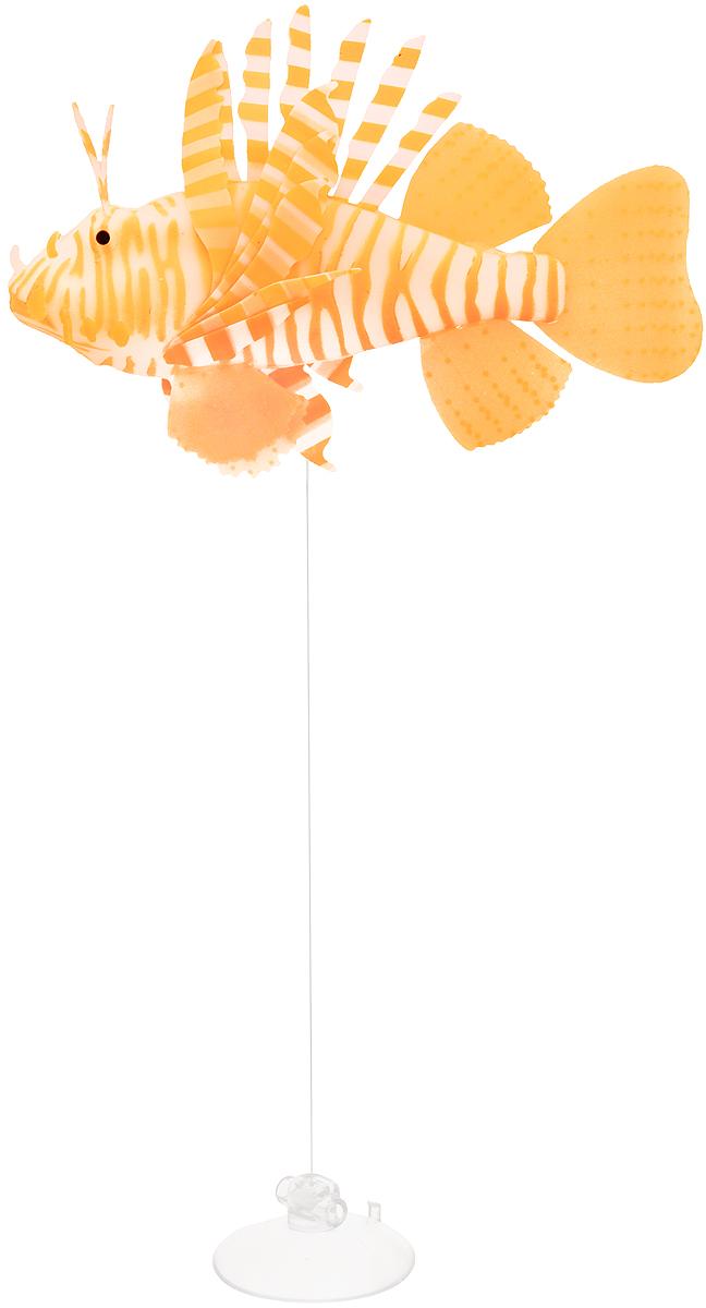 Декорация для аквариума Barbus Рыба крылатка, цвет: оранжевыйDecor 175Декорация для аквариума Barbus Рыба крылатка - это невероятно реалистичная имитация настоящей рыбы. Изделие выполнено из силикона, светится в темноте, оснащено воздушными клапанами, а плавники подвижны в потоке воды. Декорация выполнена из безопасного нетоксичного материала, безвредного для рыб и растений. Изделие снабжено специальной леской регулируемой длины и присоской, с помощью которой крепится к аквариуму. Рыбку необходимо размещать так, чтобы она попадала под потоки воды. На обратной стороне упаковки расположена примерная схема расположения. Длина лески: 40 см.