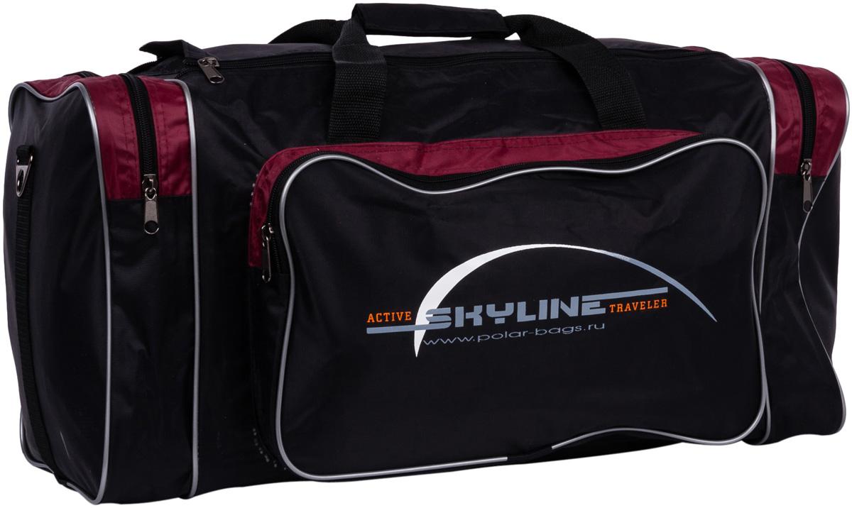 Сумка дорожная Polar Нейлон, цвет: черный, бордовый, 50 л, 56 х 30 х 30 см6008Материал – полиэстер с водоотталкивающей пропиткой. Вместительная спортивная сумка среднего размера. Одно отделение. Два боковых кармана и два кармана на передней части. В комплект входит съемный плечевой ремень. Эта сумка идеально подойдет для спорта и отдыха. Спортивная сумка для ваших вещей.