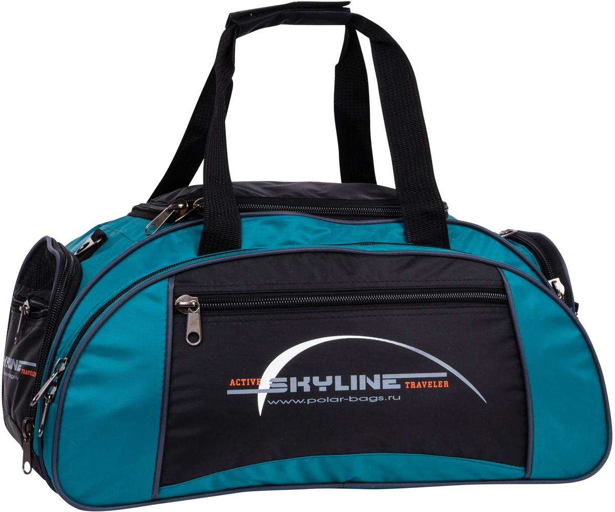 Сумка спортивная Polar Скайлайн, цвет: черный, бирюзовый, 36 л, 50 х 24 х 30 см. 60636063Спортивная сумка для ваших вещей. Большое отделение под вещи, плюс три кармана снаружи сумки, позволит вместить в сумку самые необходимые вещи. Карман сбоку под обувь. Имеется плечевой ремень.