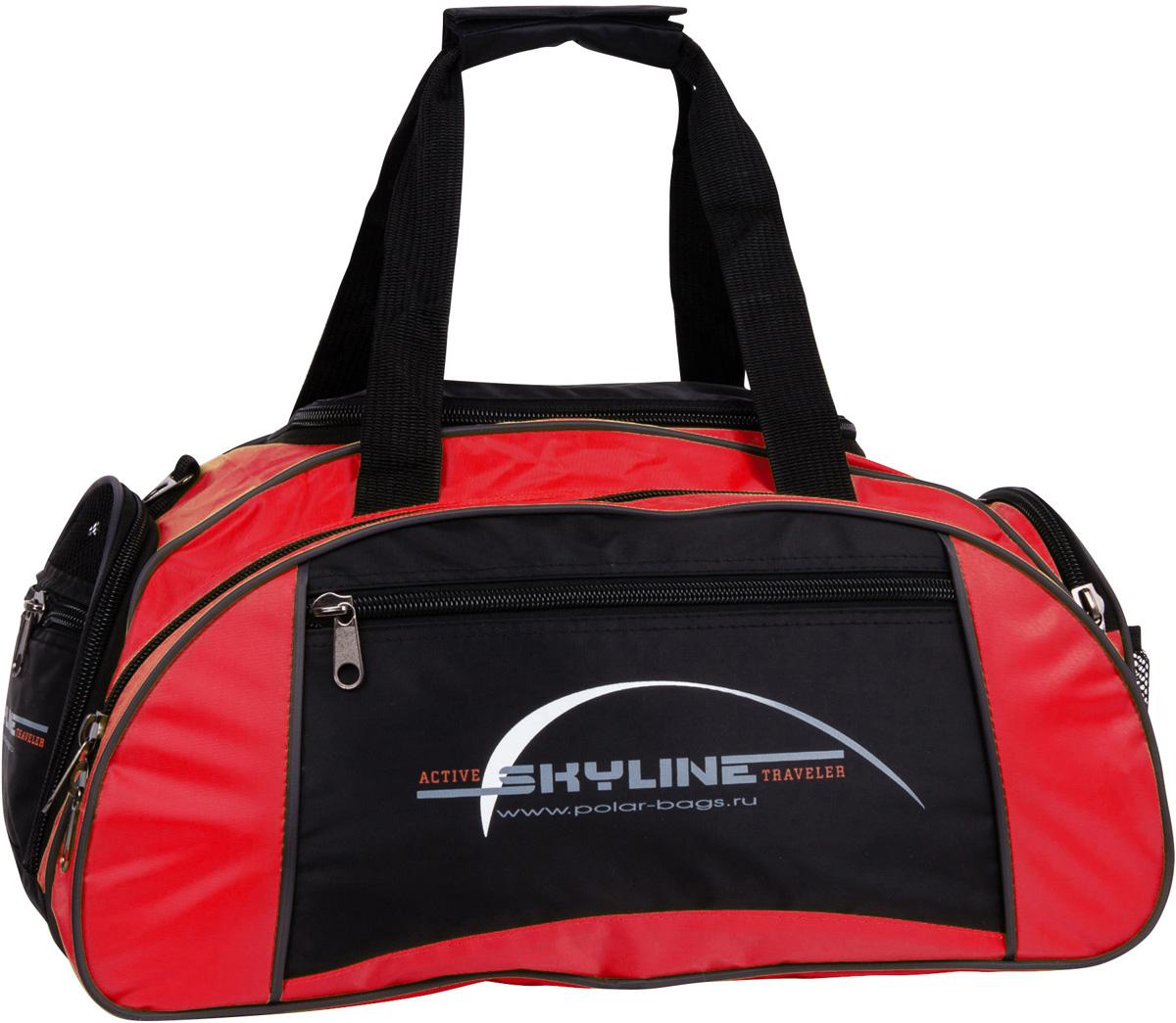 Сумка спортивная Polar Скайлайн, цвет: черный, красный, 36 л, 50 х 24 х 30 см. 60636063Спортивная сумка для ваших вещей. Большое отделение под вещи, плюс три кармана снаружи сумки, позволит вместить в сумку самые необходимые вещи. Карман сбоку под обувь. Имеется плечевой ремень.