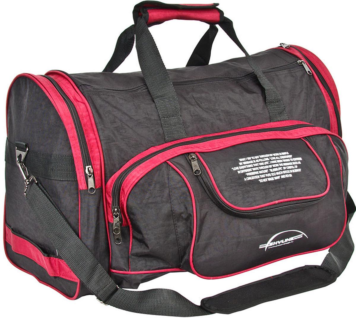 Сумка спортивная Polar Тревел, цвет: черный, красный, 44,5 л, 55 х 27 х 30 см. 60666066Материал – полиэстер с водоотталкивающей пропиткой. Вместительная спортивная сумка среднего размера. Одно отделение. Два боковых кармана и два кармана на передней части. В комплект входит съемный плечевой ремень. Эта сумка идеально подойдет для спорта и отдыха. Спортивная сумка для ваших вещей.