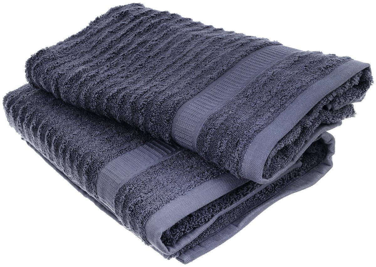 Набор хлопковых полотенец Home Textile, цвет: темно-серый, 2 штLX-OZ15Набор Home Textile состоит из двух полотенец разного размера, выполненных из качественной натуральной махры (100% хлопок). Полотенца имеют ворс различной длины, что создает рельефную текстуру, и классический бордюр. Мягкие и уютные, они прекрасно впитывают влагу и легко стираются. Кроме того, хлопковые полотенца отличаются высокой износоустойчивостью и долгим сроком службы. Такой набор полотенец подарит массу положительных эмоций и приятных ощущений.
