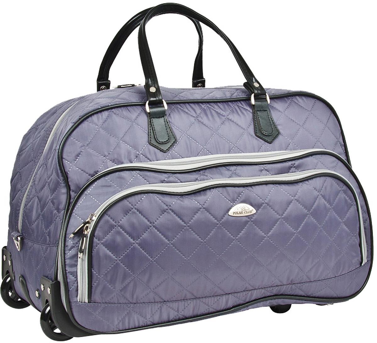 Сумка дорожная Polar Стежка, на колесах, цвет: серый, 51 л, 55 х 37 х 25 см. 7050.17050.1Колесная дорожная сумка Polar. Пластиковые колеса, выдвижная ручка ,выдвигается на 38 см. Имеется съемный плечевой ремень, что бы носить сумку через плечо. Одно большое отделение для ваших вещей. Два кармана спереди сумки на молнии. Высота ручек 17 см.