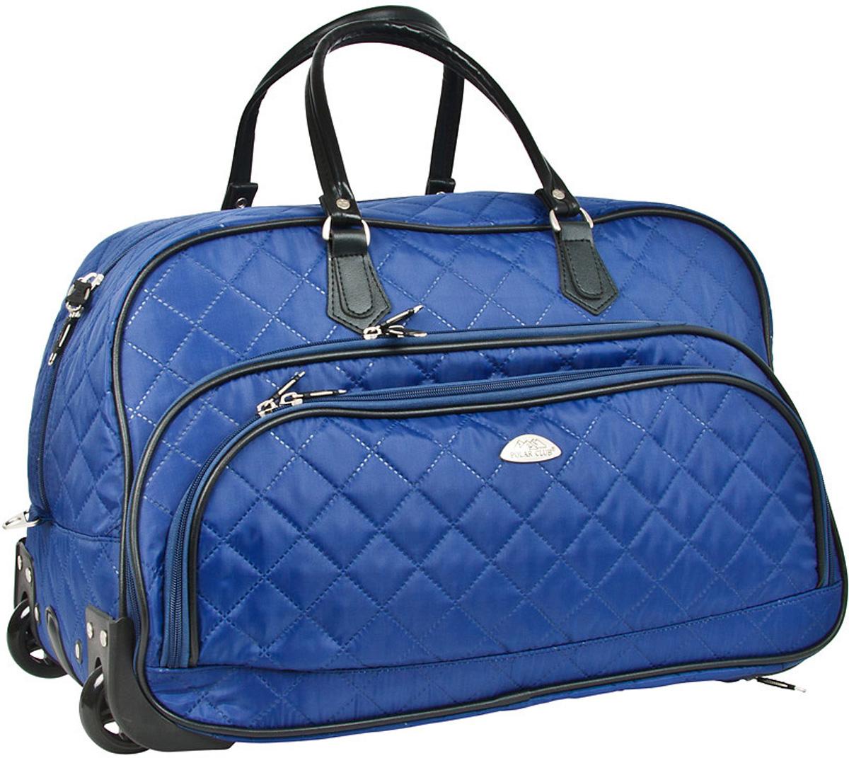 Сумка дорожная Polar Стежка, на колесах, цвет: синий, 51 л, 55 х 37 х 25 см7050.1Колесная дорожная сумка Polar. Пластиковые колеса, выдвижная ручка ,выдвигается на 38 см. Имеется съемный плечевой ремень, что бы носить сумку через плечо. Одно большое отделение для ваших вещей. Два кармана спереди сумки на молнии. Высота ручек 17 см.