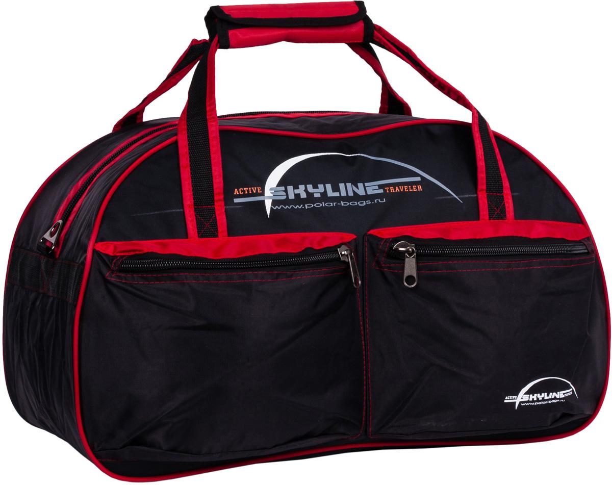 Сумка дорожная Polar Скайлайн, цвет: черный, красный, 53 л, 54 x 34 x 29 смП05Материал - нейлон с водоотталкивающий пропиткой. Большое отделение для вещей, плюс два кармана спереди сумки. В комплект входит ремешок, для переноски сумки на плече.