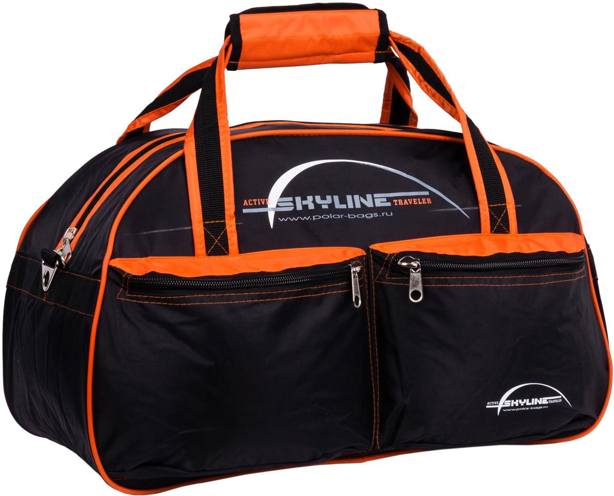 Сумка дорожная Polar Скайлайн, цвет: черный, оранжевый, 53 л, 54 x 34 x 29 смП05Материал - нейлон с водоотталкивающий пропиткой. Большое отделение для вещей, плюс два кармана спереди сумки. В комплект входит ремешок, для переноски сумки на плече.