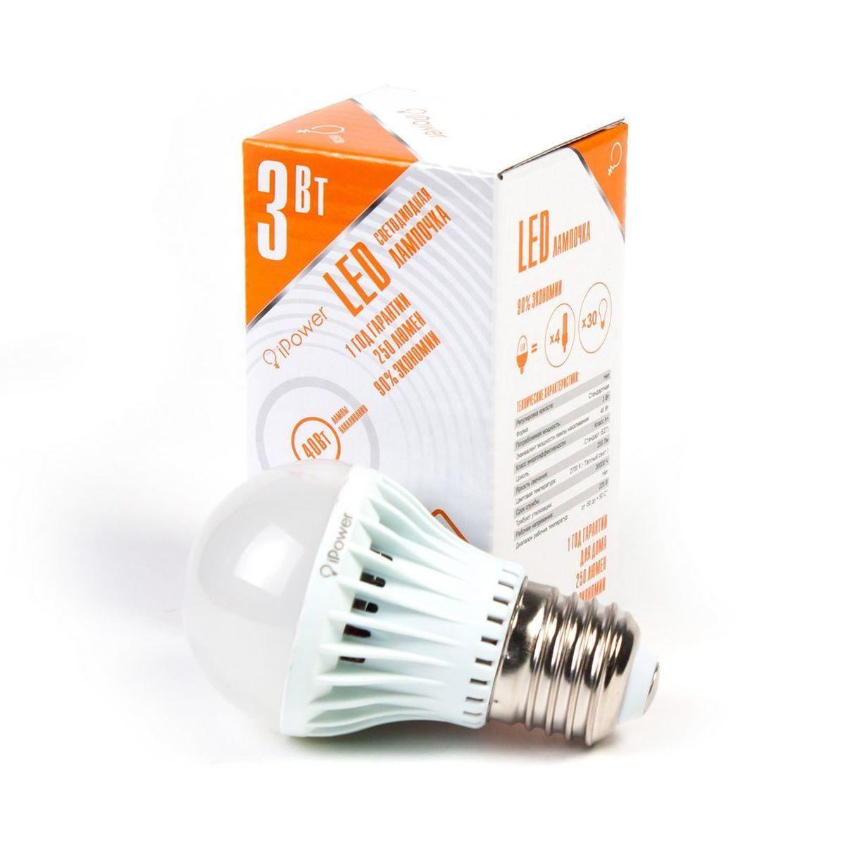 Лампа светодиодная IPower LED, цоколь Е27, 3W, 2700К теплый свет1001946Светодиодная лампочка iPower IPHB3W2700KE27 LED лампочка iPower имеет очень низкое энергопотребление, в сравнении с лампами накаливания LED потребляет в 12 раз меньше электричества, а в сравнении с энергосберегающими в 2-4 раз меньше. При этом срок службы LED лампочки в 5 раз выше, чем энергосберегающей, и в 50 раз выше, чем у лампы накаливания. Светодиодные лампочки iPower создают мягкий рассеивающий свет без мерцаний, что совершенно безопасно для глаз. Они специально разработаны по требованиям российских и европейских законов и подходят ко всем осветительным устройствам, совместимым со стандартным цоколем E27. Габариты 29x29x22 Гарантия 12 мес. Диапазон рабочих температур от -50 до +50 °С Материал Поликарбонат ПартНомер ZGB-QP50S-3 2700K Потребляемая мощность 3 Вт Рабочее напряжение, В 220В Размер 50*88 мм Регулировка яркости Нет Световая температура 2700К (Тёплый свет) Срок службы 30000 часов Тип упаковки Цветная коробка ...