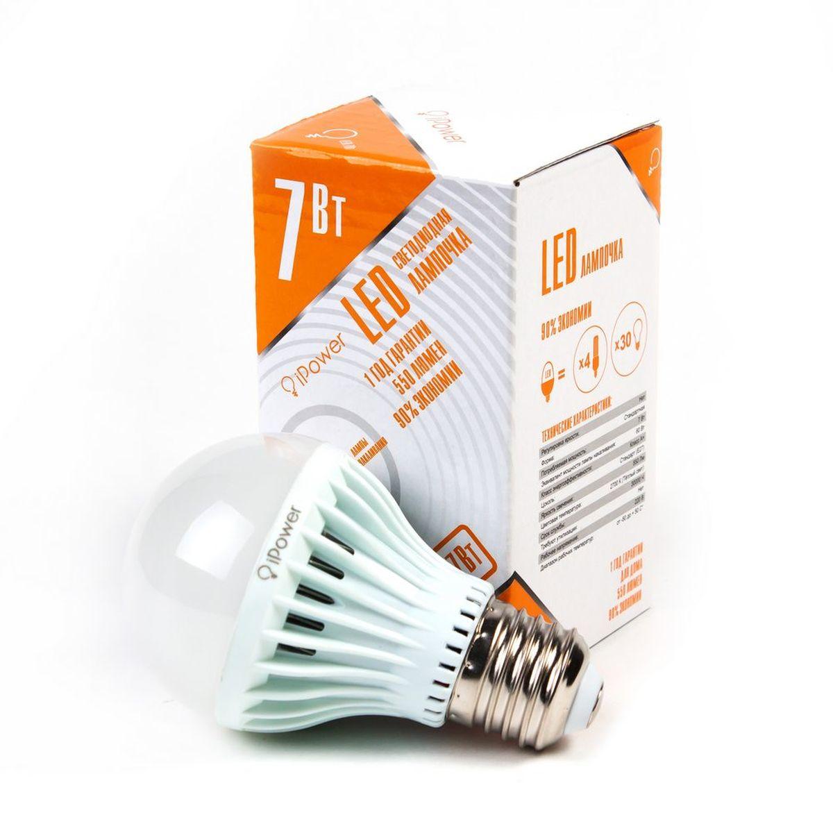 Лампа светодиодная iPower, цоколь Е27, 7W, 2700К1001950Светодиодная лампа iPower имеет очень низкое энергопотребление. В сравнении с лампами накаливания LED потребляет в 12 раз меньше электричества, а в сравнении с энергосберегающими - в 2-4 раза меньше. При этом срок службы LED лампочки в 5 раз выше, чем энергосберегающей, и в 50 раз выше, чем у лампы накаливания. Светодиодная лампа iPower создает мягкий рассеивающий свет без мерцаний, что совершенно безопасно для глаз. Она специально разработана по требованиям российских и европейских законов и подходит ко всем осветительным устройствам, совместимым со стандартным цоколем E27. Использование светодиодов от мирового лидера Epistar - это залог надежной и стабильной работы лампы. Теплый оттенок света лампы по световой температуре соответствует обычной лампе накаливания и позволит создать уют в доме и местах отдыха. Диапазон рабочих температур от -50°С до +50°С. Материал: поликарбонат. Потребляемая мощность: 7 Вт. Рабочее напряжение: 220В. Световая...