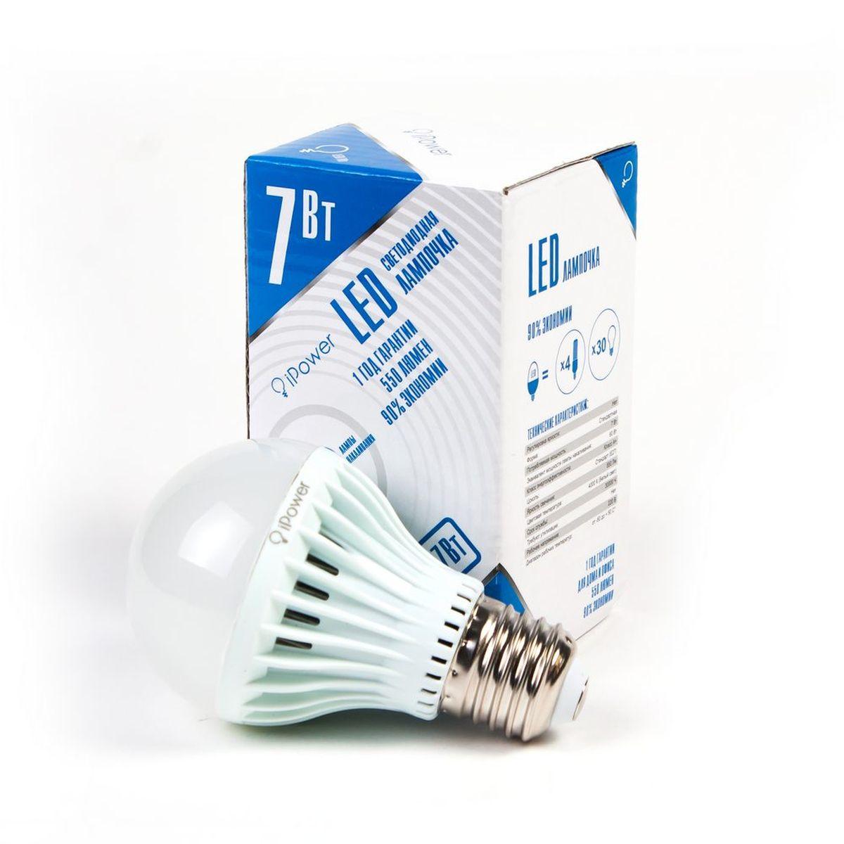 Лампа светодиодная iPower, цоколь Е27, 7W, 4000К1001951Светодиодная лампа iPower имеет очень низкое энергопотребление. В сравнении с лампами накаливания LED потребляет в 12 раз меньше электричества, а в сравнении с энергосберегающими - в 2-4 раза меньше. При этом срок службы LED лампочки в 5 раз выше, чем энергосберегающей, и в 50 раз выше, чем у лампы накаливания. Светодиодная лампа iPower создает мягкий рассеивающий свет без мерцаний, что совершенно безопасно для глаз. Она специально разработана по требованиям российских и европейских законов и подходит ко всем осветительным устройствам, совместимым со стандартным цоколем E27. Использование светодиодов от мирового лидера Epistar - это залог надежной и стабильной работы лампы. Нейтральный белый оттенок свечения идеально подойдёт для освещения, как офисов, образовательных и медицинских учреждений, так и кухни, гостиной. Диапазон рабочих температур: от -50°C до +50°С. Материал: поликарбонат. Потребляемая мощность: 7 Вт. Рабочее напряжение: 220В. ...