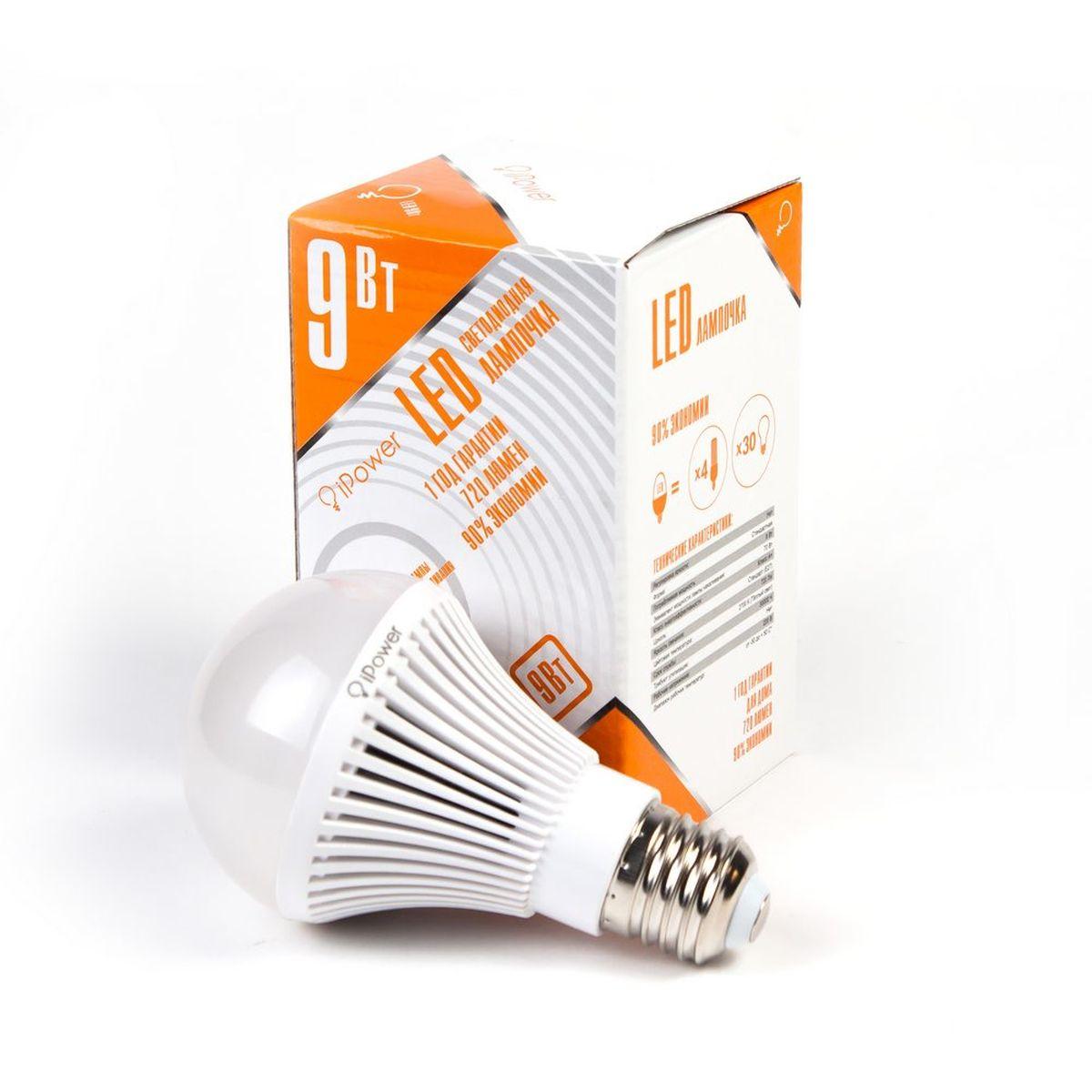 Лампа светодиодная iPower, цоколь Е27, 9W, 2700К1001952Светодиодная лампа iPower имеет очень низкое энергопотребление. В сравнении с лампами накаливания LED потребляет в 12 раз меньше электричества, а в сравнении с энергосберегающими - в 2-4 раза меньше. При этом срок службы LED лампочки в 5 раз выше, чем энергосберегающей, и в 50 раз выше, чем у лампы накаливания. Светодиодная лампа iPower создает мягкий рассеивающий свет без мерцаний, что совершенно безопасно для глаз. Она специально разработана по требованиям российских и европейских законов и подходит ко всем осветительным устройствам, совместимым со стандартным цоколем E27. Использование светодиодов от мирового лидера Epistar - это залог надежной и стабильной работы лампы. Теплый оттенок света лампы по световой температуре соответствует обычной лампе накаливания и позволит создать уют в доме и местах отдыха. Диапазон рабочих температур: от -50°C до +50°С. Материал: алюминий, поликарбонат. Потребляемая мощность: 9 Вт. Рабочее напряжение: 220В. ...