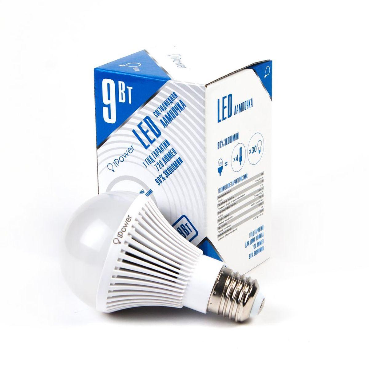 Лампа светодиодная iPower, цоколь Е27, 9W, 4000К1001953Светодиодная лампа iPower имеет очень низкое энергопотребление. В сравнении с лампами накаливания LED потребляет в 12 раз меньше электричества, а в сравнении с энергосберегающими - в 2-4 раза меньше. При этом срок службы LED лампочки в 5 раз выше, чем энергосберегающей, и в 50 раз выше, чем у лампы накаливания. Светодиодная лампа iPower создает мягкий рассеивающий свет без мерцаний, что совершенно безопасно для глаз. Она специально разработана по требованиям российских и европейских законов и подходит ко всем осветительным устройствам, совместимым со стандартным цоколем E27. Использование светодиодов от мирового лидера Epistar - это залог надежной и стабильной работы лампы. Нейтральный белый оттенок свечения идеально подойдёт для освещения, как офисов, образовательных и медицинских учреждений, так и кухни, гостиной. Диапазон рабочих температур: от -50°C до +50°С. Материал: поликарбонат. Потребляемая мощность: 9 Вт. Рабочее напряжение: 220В. ...
