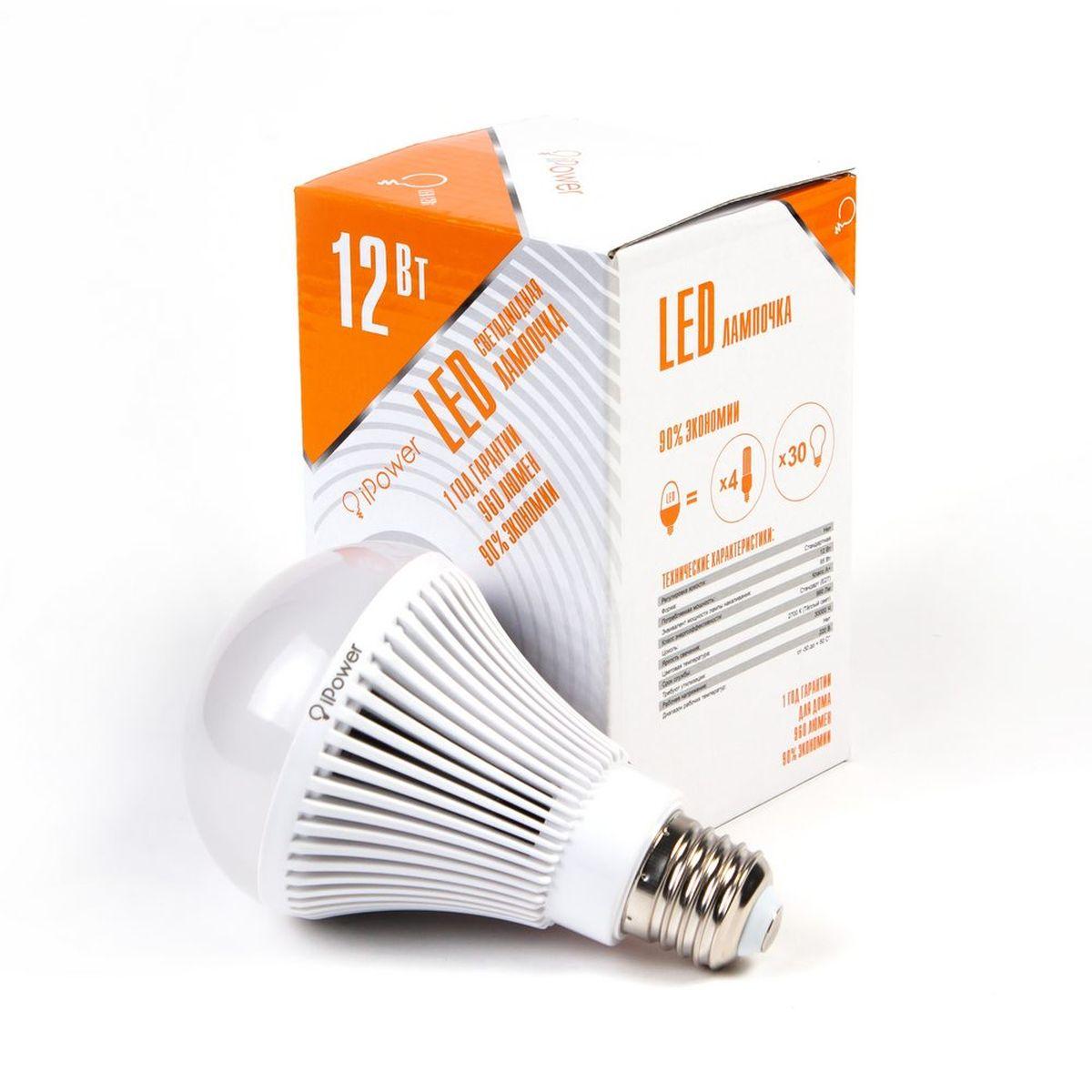 Лампа светодиодная IPower LED, цоколь Е27, 12W, 2700К теплый свет1001954Светодиодная лампочка iPower IPHB12W2700KE27 LED лампочка iPower имеет очень низкое энергопотребление, в сравнении с лампами накаливания LED потребляет в 12 раз меньше электричества, а в сравнении с энергосберегающими в 2-4 раз меньше. При этом срок службы LED лампочки в 5 раз выше, чем энергосберегающей, и в 50 раз выше, чем у лампы накаливания. Светодиодные лампочки iPower создают мягкий рассеивающий свет без мерцаний, что совершенно безопасно для глаз. Они специально разработаны по требованиям российских и европейских законов и подходят ко всем осветительным устройствам, совместимым со стандартным цоколем E27. Габариты 45x45x15.5 Гарантия 12 мес. Диапазон рабочих температур от -50 до +50 °С Материал Алюминий, поликарбонат ПартНомер ZGB-QP80WS-12 2700K Потребляемая мощность 12 Вт Рабочее напряжение, В 220В Размер 80*135 мм Регулировка яркости Нет Световая температура 2700К (Тёплый свет) Срок службы 30000 часов Тип упаковки...