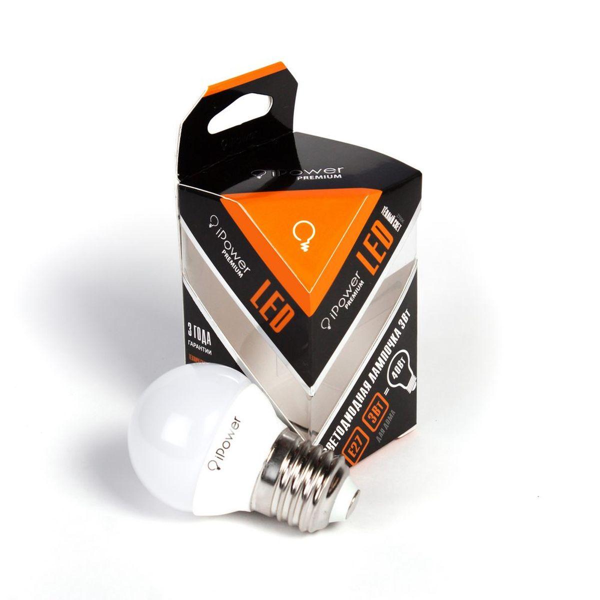 Лампа светодиодная iPower Premium, цоколь Е27, 3W, 2700К1001960Светодиодная лампа iPower Premium имеет очень низкое энергопотребление. В сравнении с лампами накаливания LED потребляет в 12 раз меньше электричества, а в сравнении с энергосберегающими - в 2-4 раза меньше. При этом срок службы LED лампочки в 5 раз выше, чем энергосберегающей, и в 50 раз выше, чем у лампы накаливания. Светодиодная лампа iPower Premium создает мягкий рассеивающий свет без мерцаний, что совершенно безопасно для глаз. Она специально разработана по требованиям российских и европейских законов и подходит ко всем осветительным устройствам, совместимым со стандартным цоколем E27. Использование светодиодов от мирового лидера Epistar - это залог надежной и стабильной работы лампы. Теплый оттенок света лампы по световой температуре соответствует обычной лампе накаливания и позволит создать уют в доме и местах отдыха. Диапазон рабочих температур от -50°С до +50 °С Материал: алюминий, поликарбонат. Потребляемая мощность: 3 Вт. Рабочее...