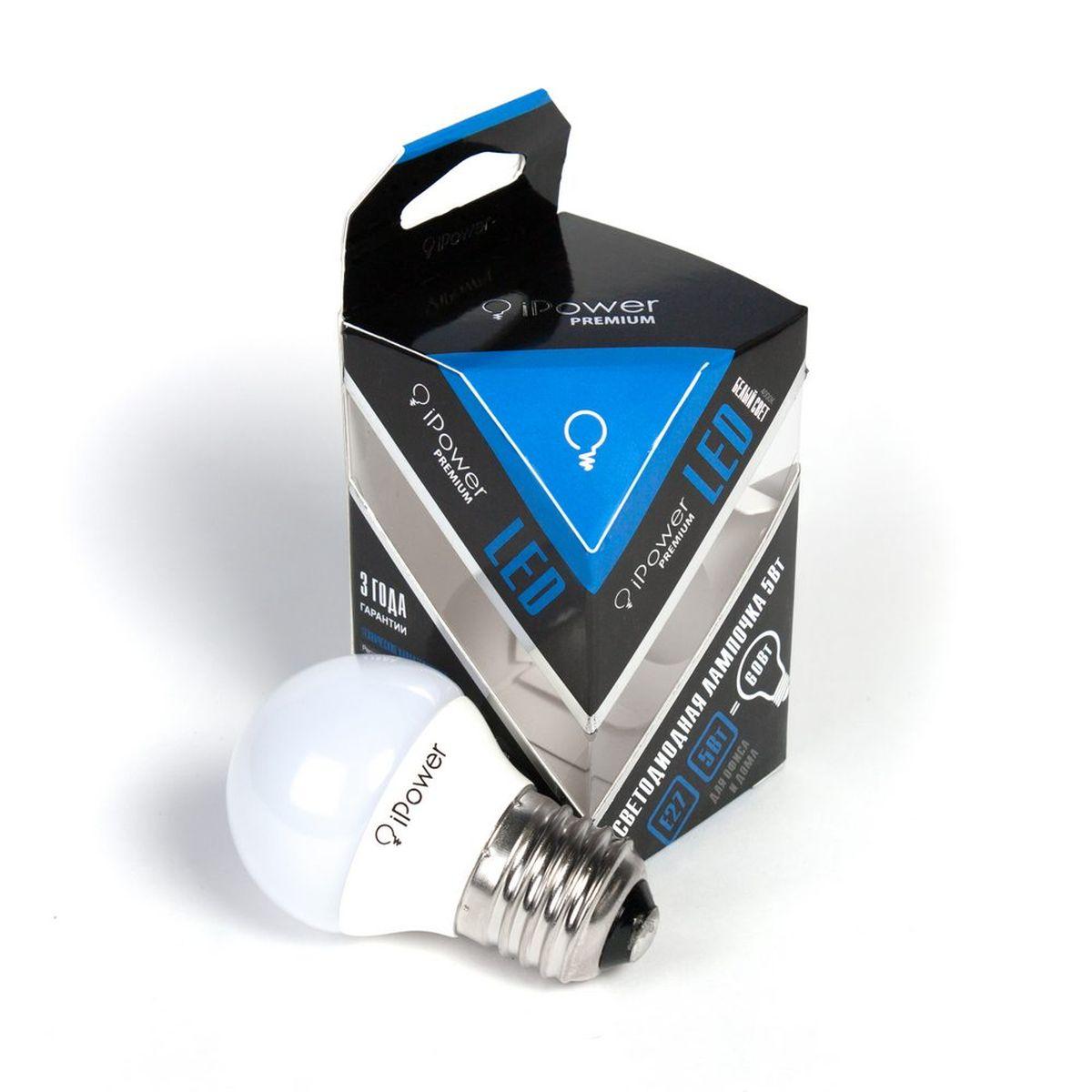Лампа светодиодная IPower Premium, LED, цоколь Е27, 5W, 4000К белый свет1001963Светодиодная лампочка iPower Premium IPPB5W4000KE27 LED лампочка iPower Premium имеет очень низкое энергопотребление, в сравнении с лампами накаливания LED потребляет в 12 раз меньше электричества, а в сравнении с энергосберегающими в 2-4 раз меньше. При этом срок службы LED лампочки в 5 раз выше, чем энергосберегающей, и в 50 раз выше, чем у лампы накаливания. Светодиодные лампочки iPower создают мягкий рассеивающий свет без мерцаний, что совершенно безопасно для глаз. Они специально разработаны по требованиям российских и европейских законов и подходят ко всем осветительным устройствам, совместимым со стандартным цоколем E27. Использование светодиодов от мирового лидера Epistar и предоставление 3 лет гарантии – залог надёжной и стабильной работы лампочки. Нейтральный белый оттенок свечения идеально подойдёт для освещения, как офисов, образовательных и медицинских учреждений, так и кухни, гостиной. Гарантия 36 мес. Диапазон рабочих температур от -50 до +50 °С ...