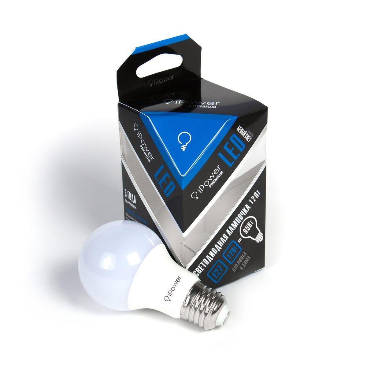 Лампа светодиодная iPower Premium, цоколь Е27, 12W, 4000К1001967Светодиодная лампа iPower Premium имеет очень низкое энергопотребление. В сравнении с лампами накаливания LED потребляет в 12 раз меньше электричества, а в сравнении с энергосберегающими - в 2-4 раза меньше. При этом срок службы LED лампочки в 5 раз выше, чем энергосберегающей, и в 50 раз выше, чем у лампы накаливания. Светодиодная лампа iPower Premium создает мягкий рассеивающий свет без мерцаний, что совершенно безопасно для глаз. Она специально разработана по требованиям российских и европейских законов и подходит ко всем осветительным устройствам, совместимым со стандартным цоколем E27. Использование светодиодов от мирового лидера Epistar - это залог надежной и стабильной работы лампы. Нейтральный белый оттенок свечения идеально подойдет для освещения как офисов, образовательных и медицинских учреждений, так и кухни, гостиной. Диапазон рабочих температур: от -50°C до +50°С. Материал: алюминий, поликарбонат. Потребляемая мощность: 12 Вт. Рабочее...