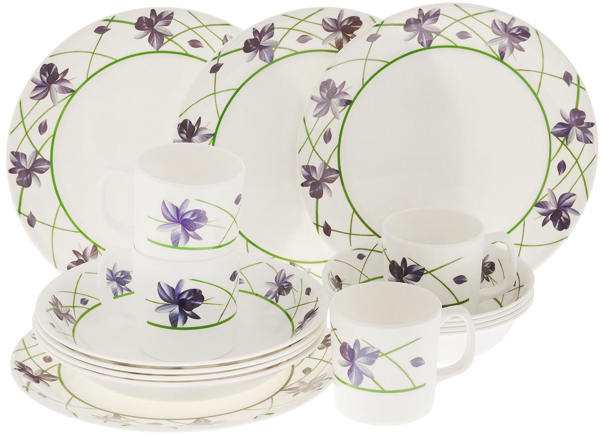 Набор пластиковой столовой посуды Calve Синие цветы, 16 предметовCL-2513_синие цветыНабор Calve состоит из 4 суповых тарелок, 4 обеденных тарелок, 4 мисок и 4 чашек. Изделия выполнены из качественного меламина, нетоксичного и безопасного при контакте с пищей. Посуда не имеет запаха, прочная и долговечная, а также простая в очистке. Имеет легкий вес, поэтому ее удобно использовать на природе или на даче. Красочный цветочный рисунок придает посуде элегантный внешний вид и делает ее настоящим украшением стола. Посуда отличается прочностью, гигиеничностью и долгим сроком службы, она устойчива к появлению царапин. Такой набор прекрасно подойдет для повседневного использования. Можно мыть в посудомоечной машине при температуре 30-40°С. Диаметр суповой тарелки (по верхнему краю): 23 см. Высота суповой тарелки: 4 см. Диаметр обеденной тарелки: 26 см. Диаметр миски (по верхнему краю): 17,5 см. Высота миски: 4 см. Объем чашки: 360 мл. Диаметр чашки (по верхнему краю): 8,5 см. Высота чашки: 8,5 см.