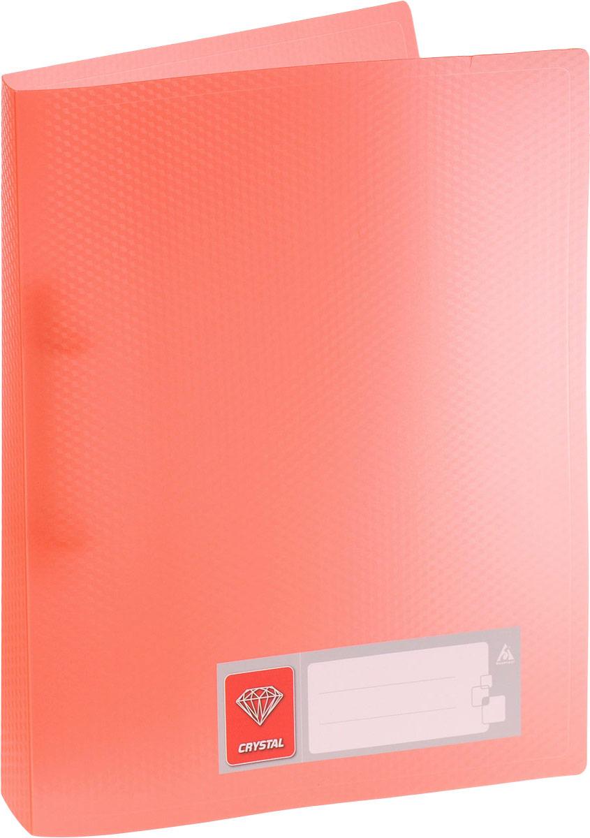 Бюрократ Папка на 2-х кольцах Crystal формат А4 цвет оранжевый