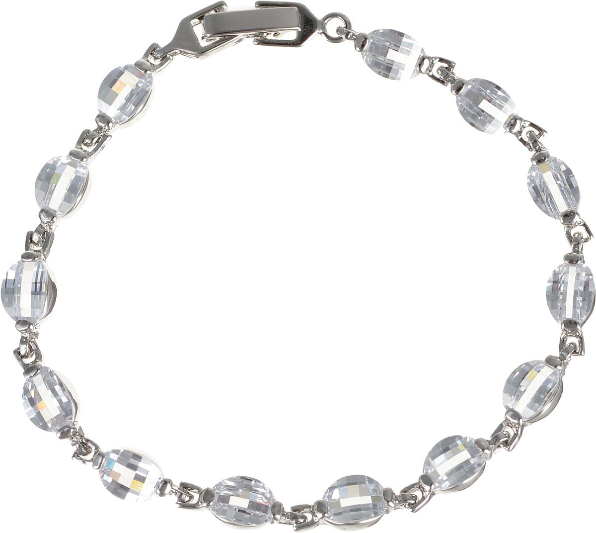 Браслет Diamond, цвет: серебристый. 4002786040027860Оригинальный браслет Diamond, выполненный из металла серебристого цвета с гальваническим покрытием родием, декорирован цирконами. Такой браслет позволит вам с легкостью воплотить самую смелую фантазию и создать собственный, неповторимый образ. Браслет застегивается на металлический замок.