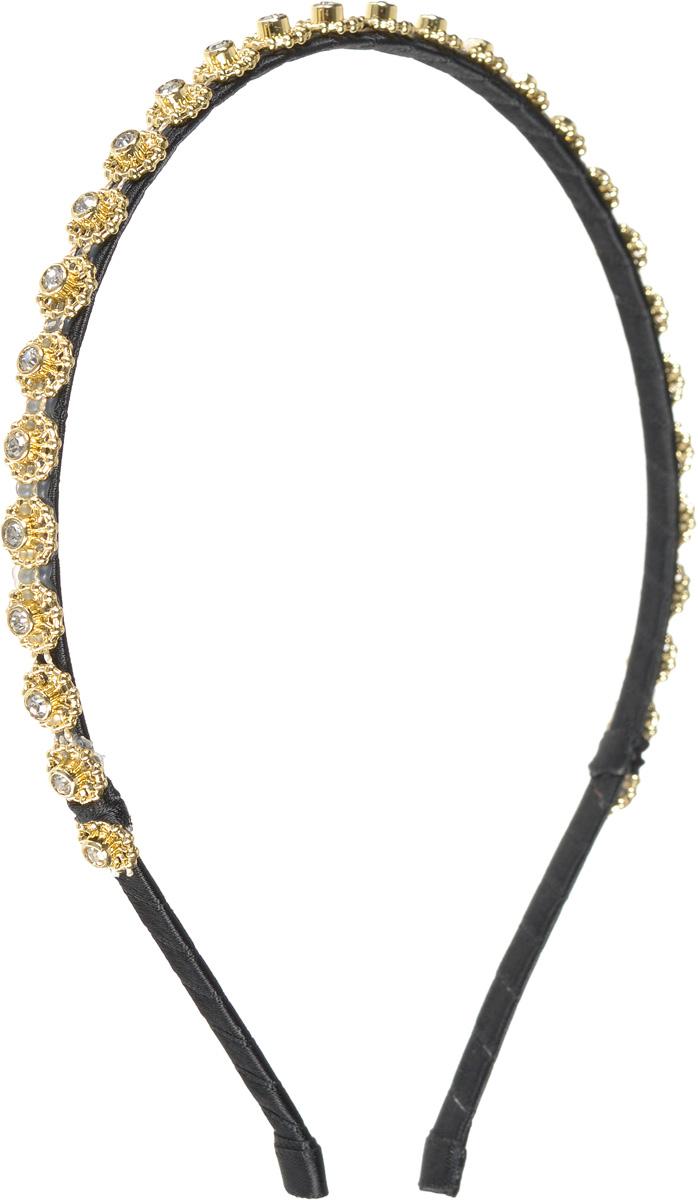 Ободок жен. Selena, цвет: золотистый. 7006610670066106Текстиль, хрустальное стекло.