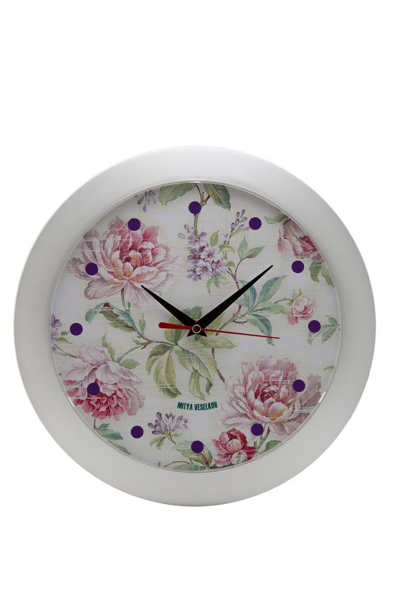 Часы настенные Mitya Veselkov Пионы, цвет: белый. MVC.NAST-009MVC.NAST-009