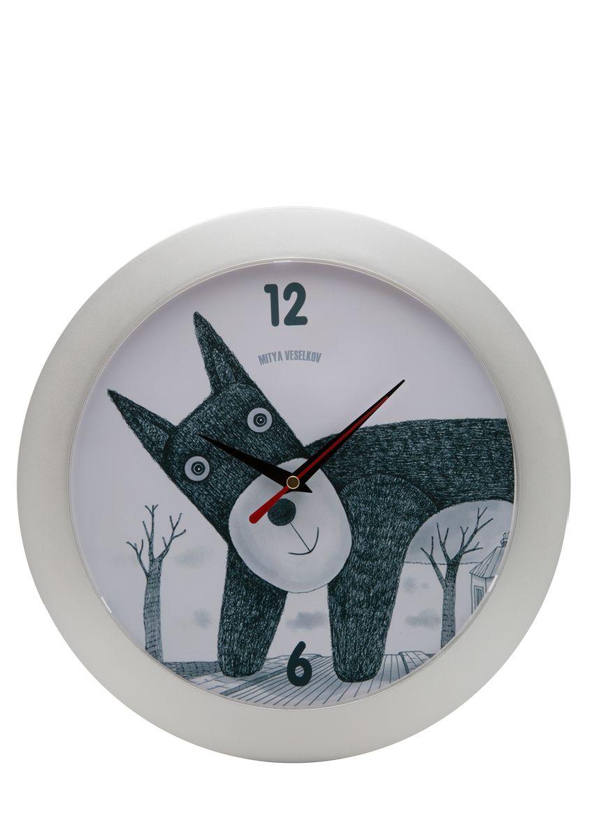 Часы настенные Mitya Veselkov Плюшевый пес, цвет: белый. MVC.NAST-010MVC.NAST-010