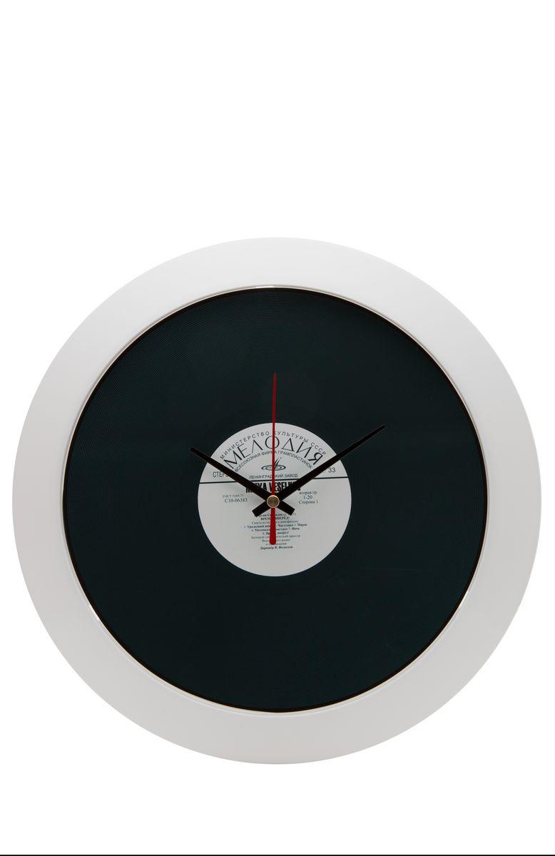 Часы настенные Mitya Veselkov Пластинка, цвет: белый, черный. MVC.NAST-027MVC.NAST-027Настенные часы Mitya Veselkov Пластика из серии MVC станут отличным украшением вашего дома, офиса или детской комнаты. Часы имеют три стрелки - часовую, минутную и секундную. Часы изготовлены из качественного легкого пластика. Циферблат часов также закрыт пластиком. В случае падения часов со стены, данный материал гораздо безопаснее увесистых стекла и стали. На задней панели часы снабжены удобным отверстием для подвески на стену. Диаметр часов: 30 см. В часах установлен кварцевый механизм.