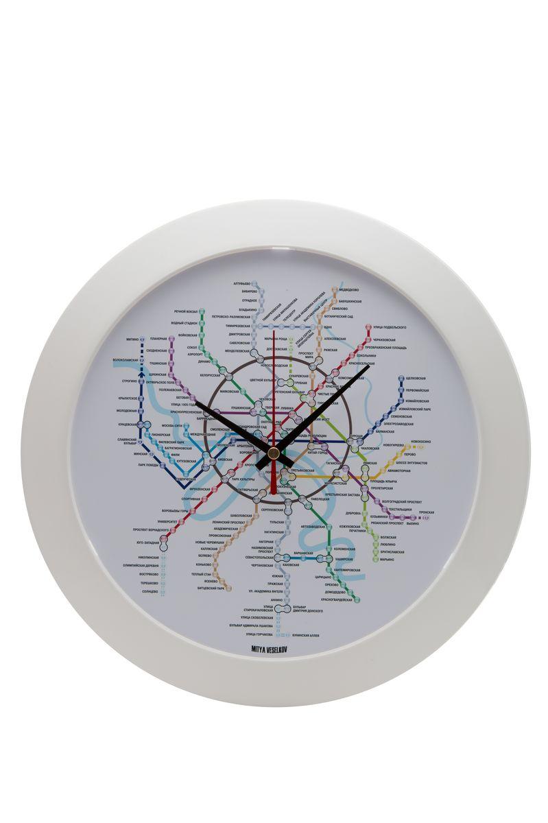 Часы настенные Mitya Veselkov Карта метро, цвет: белый. MVC.NAST-028MVC.NAST-028